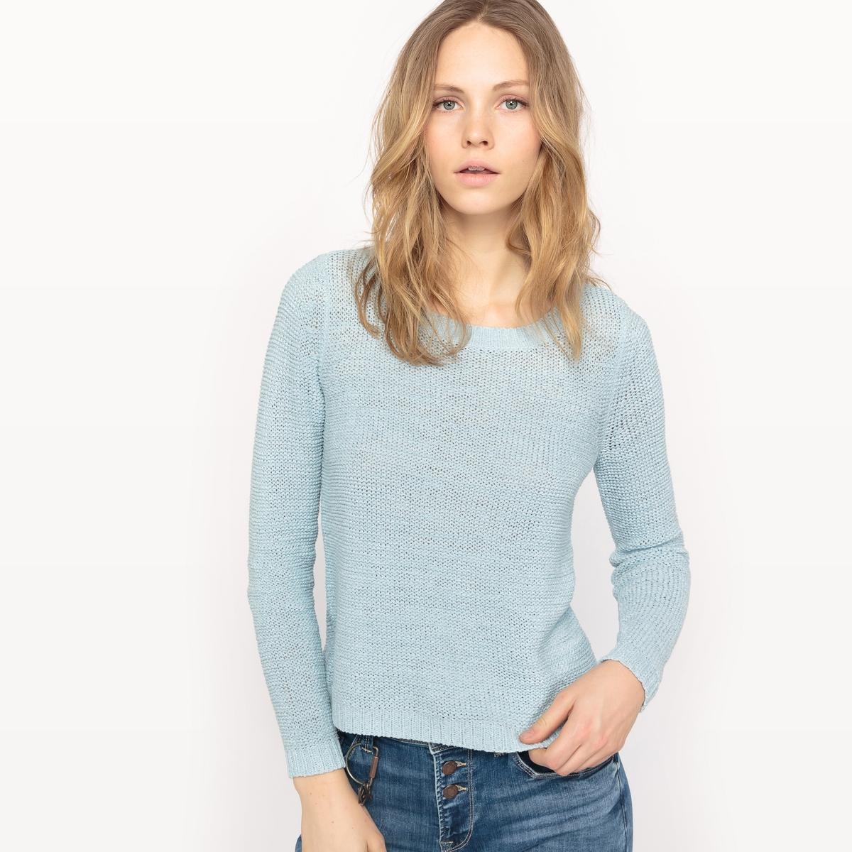 Пуловер с круглым вырезом из акрилаМатериал : 65% акрила, 35% полиамида  Длина рукава : длинные рукава  Форма воротника : круглый вырез  Покрой пуловера : стандартный  Рисунок : однотонная модель<br><br>Цвет: голубой<br>Размер: L