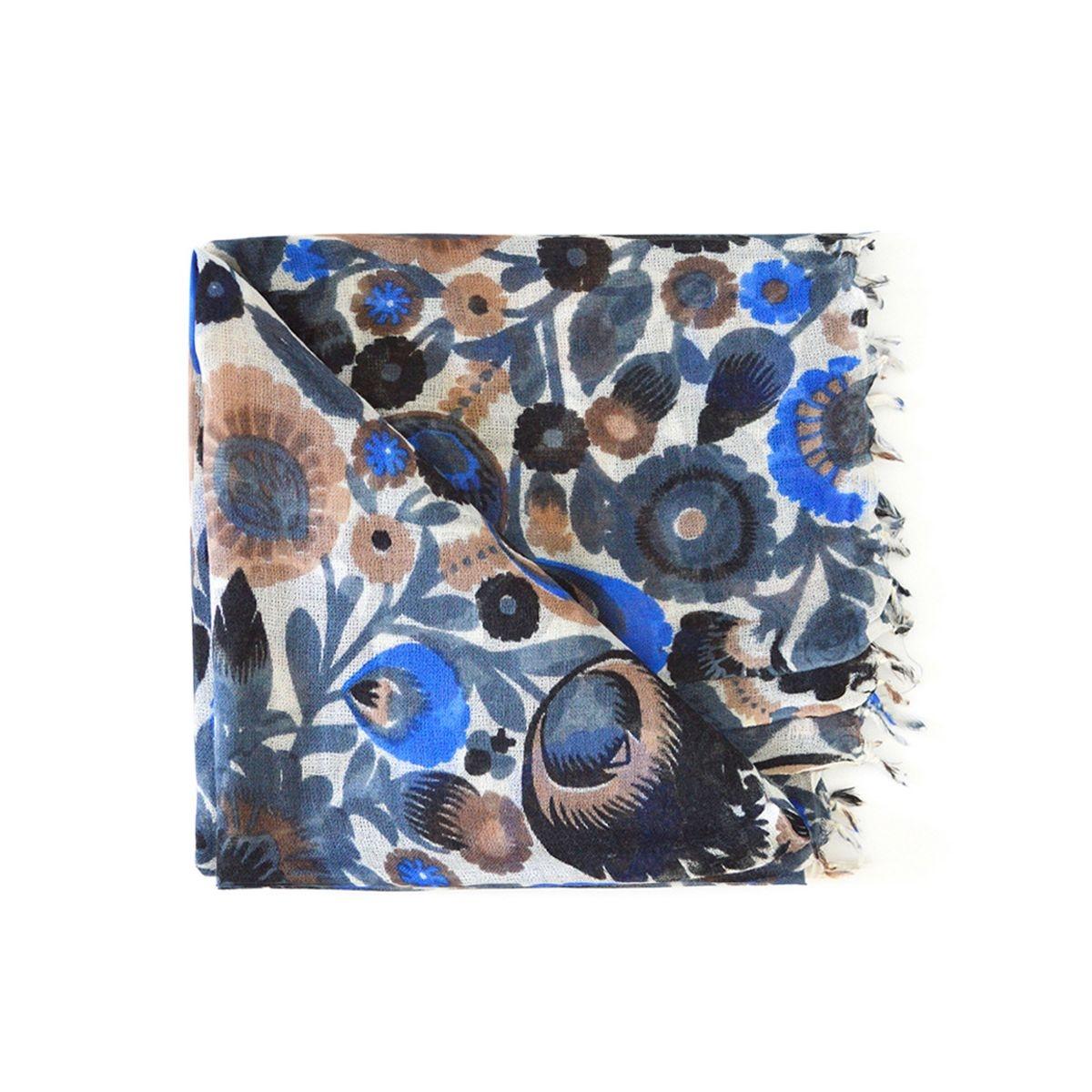 Foulard  en laine à imprimé floral