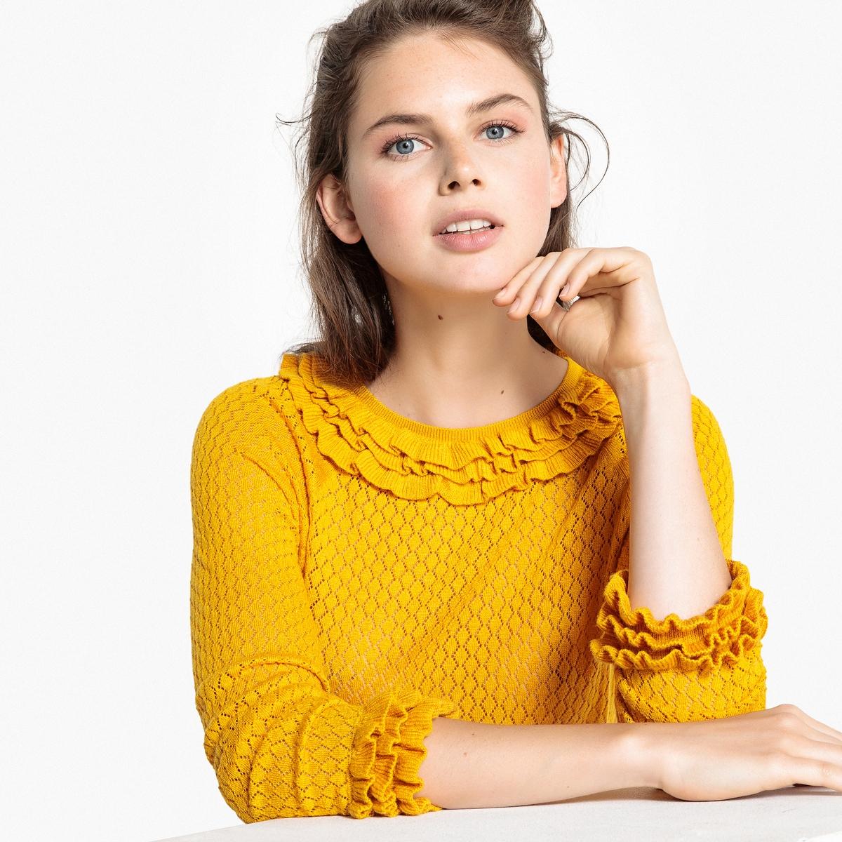 Пуловер с вырезом-лодочка и воланами MADEMOISELLE R