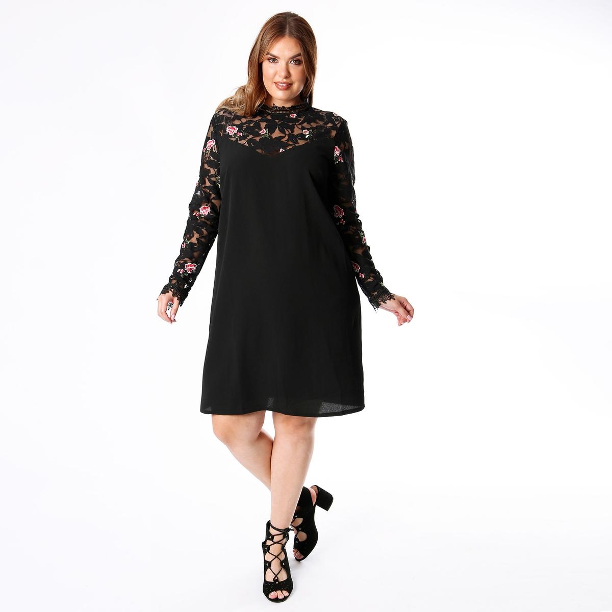 Платье с воротником-стойкой, вышитым тблем и рукавами 3/4 платье с рукавами 3 4 roncier