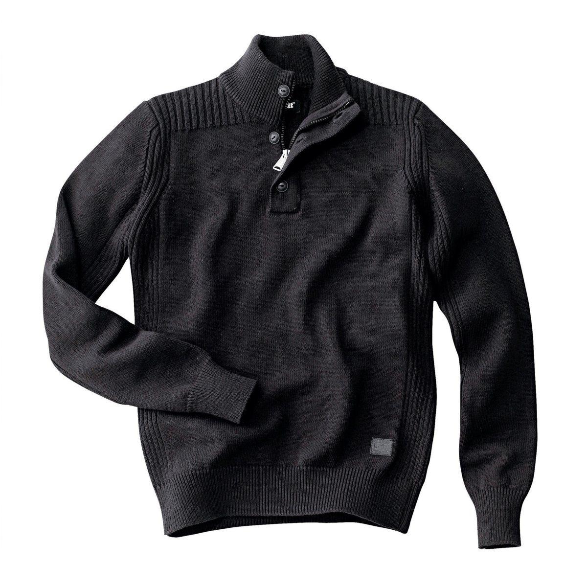 ПуловерПуловер Milford от SCHOTT. 50% хлопка, 50% акрила. Высокий воротник с застежкой на 3 пуговицы.<br><br>Цвет: серый меланж,черный<br>Размер: L