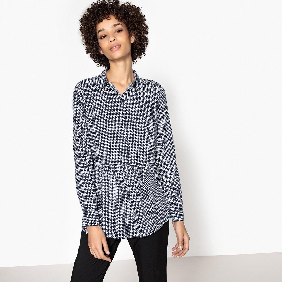 Блузка с рубашечным воротником и рисунком гусиная лапка tom tailor блузка tom tailor 203140400752647
