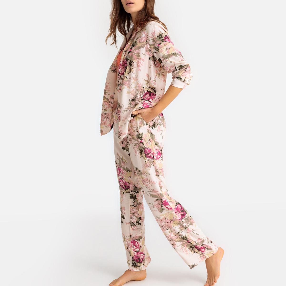 Pijama camisero de manga larga con estampado de flores