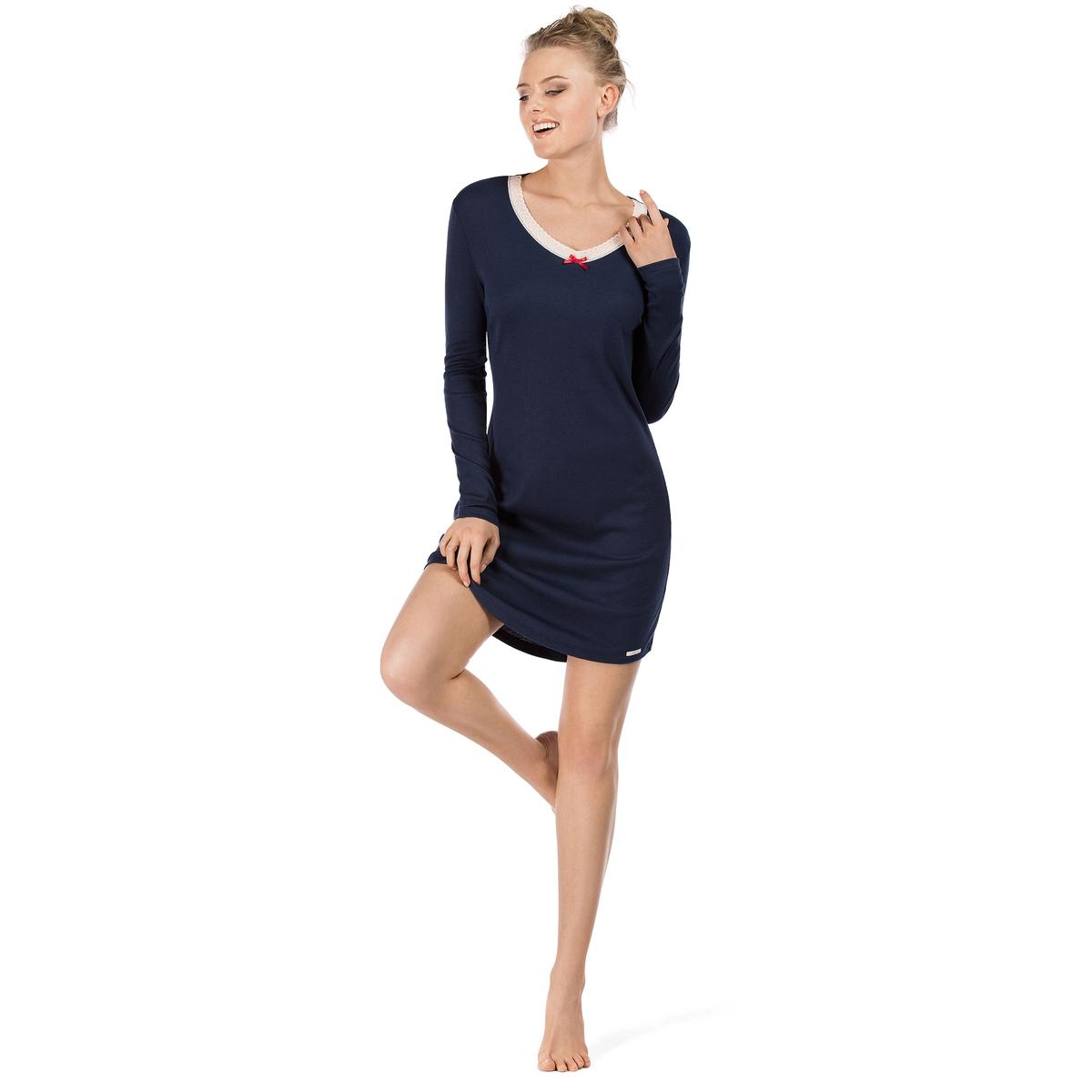 Рубашка ночная Hanami LoveСостав и детали :Основной материал : 50% хлопка, 50% модалаМарка : SKINYУходМашинная стирка при 30°Стирать вместе с одеждой подобных цветов<br><br>Цвет: синий морской