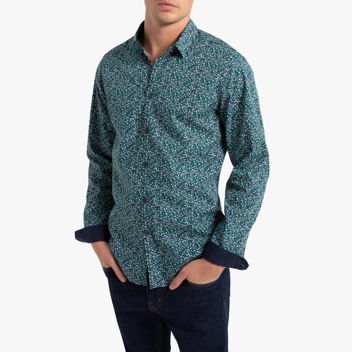 цена Рубашка La Redoute Узкого покроя с рисунком и длинными рукавами 37/38 разноцветный онлайн в 2017 году