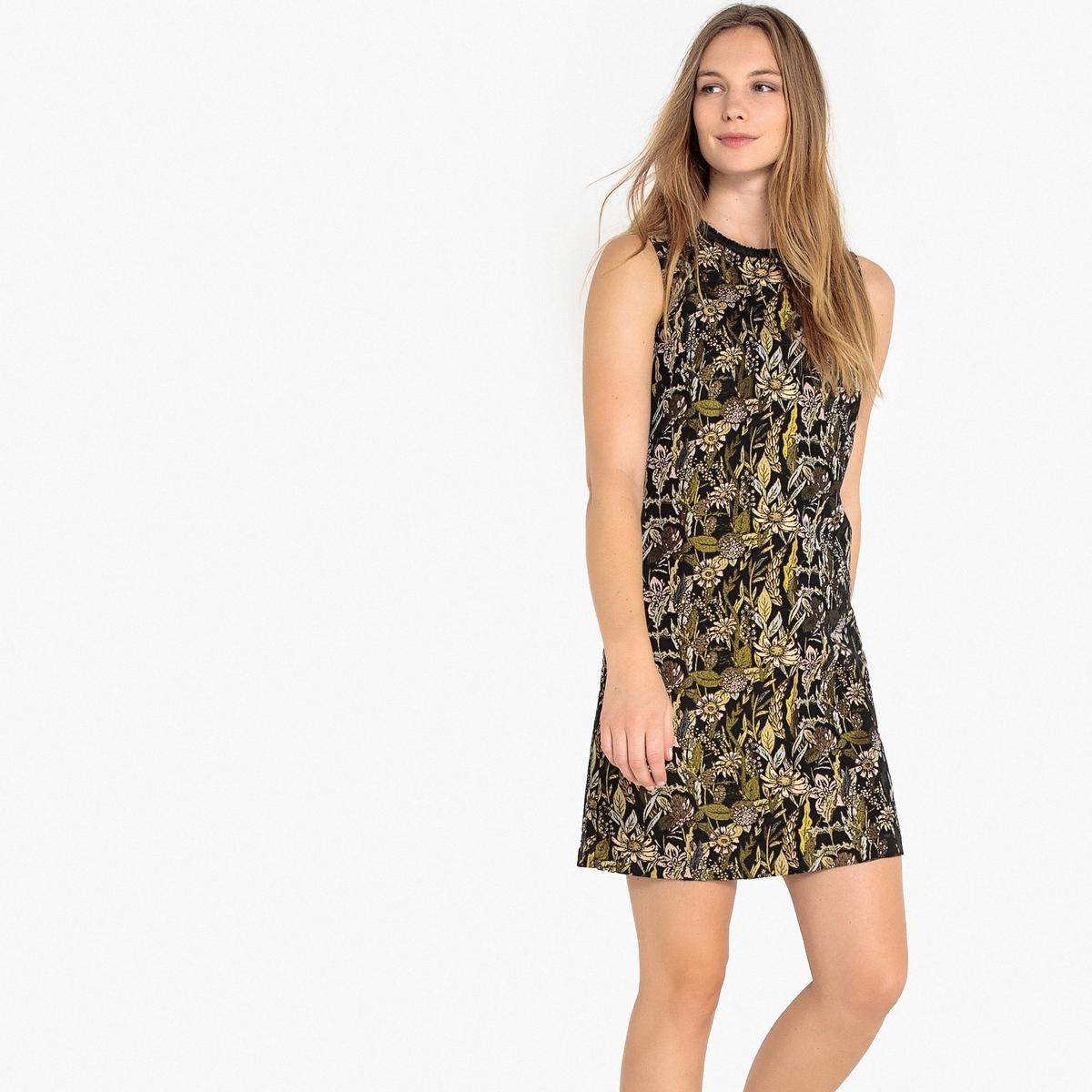 Платье La Redoute Прямое с жаккардовым рисунком без рукавов 34 (FR) - 40 (RUS) черный