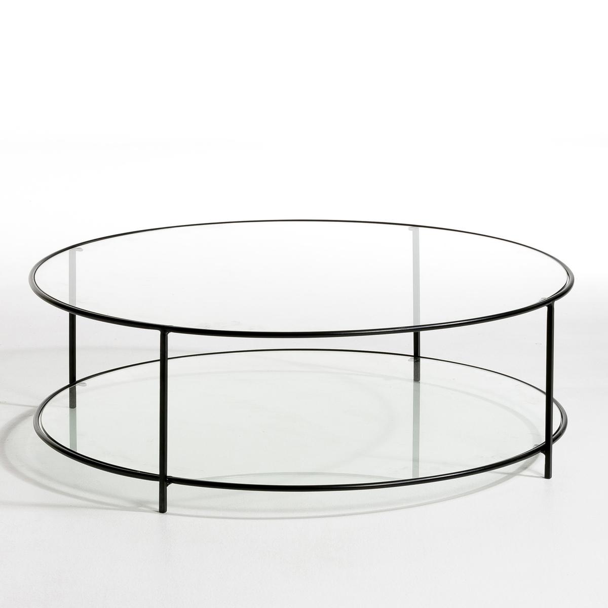 Стол La Redoute Журнальный круглый из закаленного стекла Sybil единый размер черный
