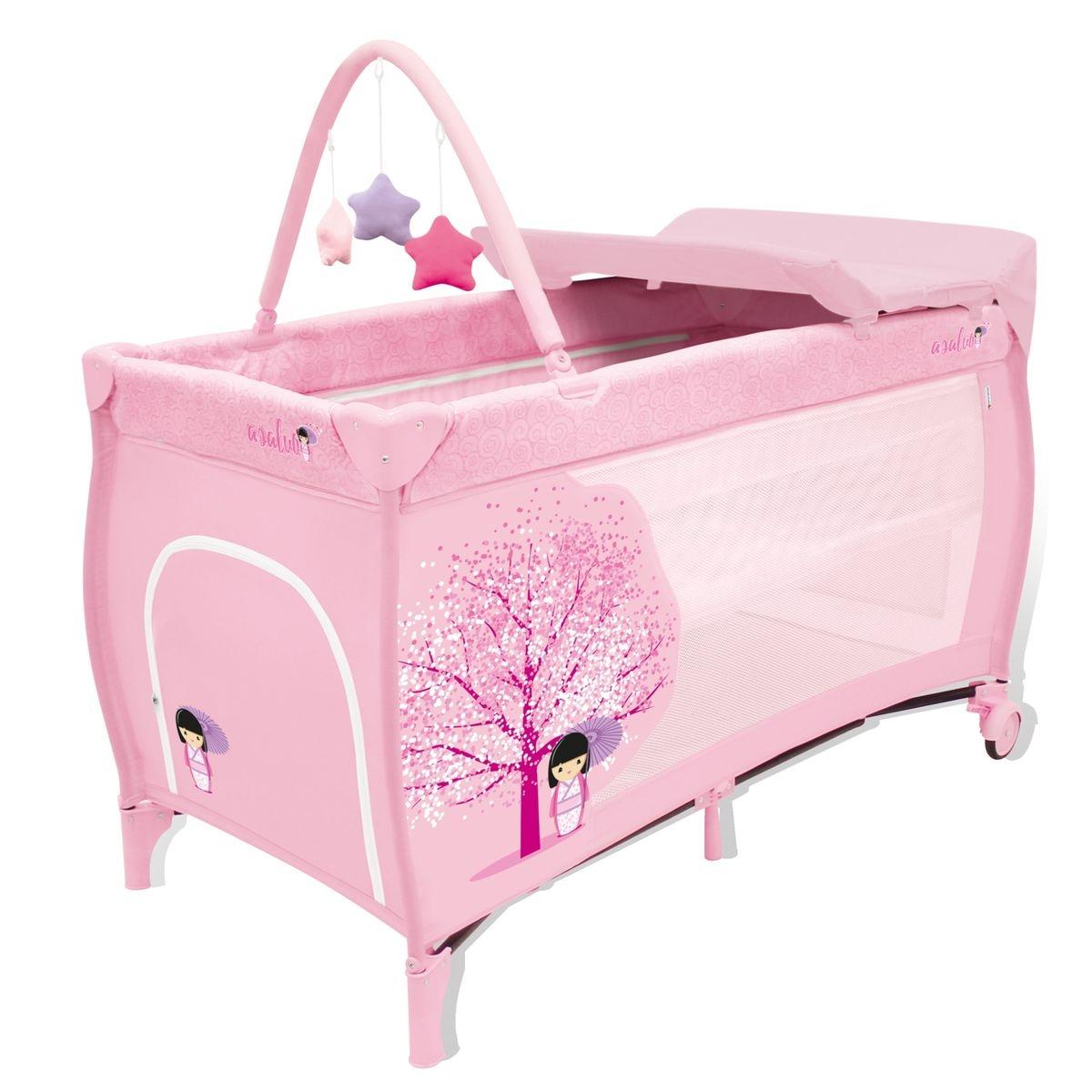 Lit pliant Baby Fox collection 'Japonaise'  avec arche et table à langer - Rose