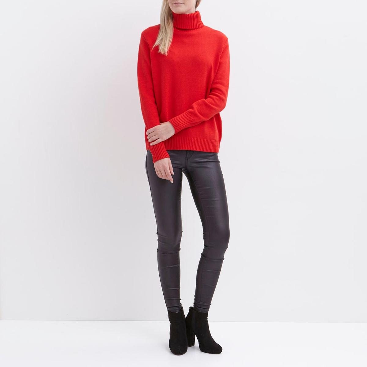 Пуловер с высоким воротникомДетали   •  Пуловер стандартный • Длинные рукава  •  Воротник с отворотом  •  Тонкий трикотаж Состав и уход   •  60% хлопка, 40% полиамида • Просьба следовать советам по уходу, указанным на этикетке изделия<br><br>Цвет: красный<br>Размер: XS.S