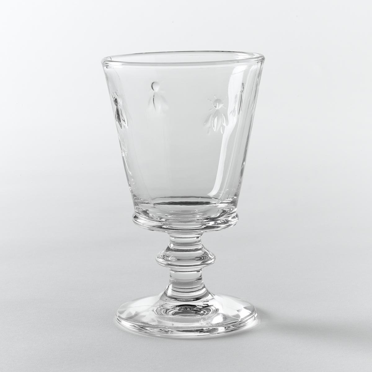 Комплект из 6 стеклянных бокалов для вина с рисунком пчелыХарактеристики 6 стеклянных бокалов для вина с рисунком пчелы :- Прессованное стекло, очень прочное- Рисунок в виде 4 пчел.- Объем 24 см3.- Диаметр 9 x Высота 14,10 см.- Можно использовать в посудомоечной машине.- Произведено во Франции.Откройте для себя бокалы для воды того же набора на сайте laredoute.ru<br><br>Цвет: стеклянный прозрачный