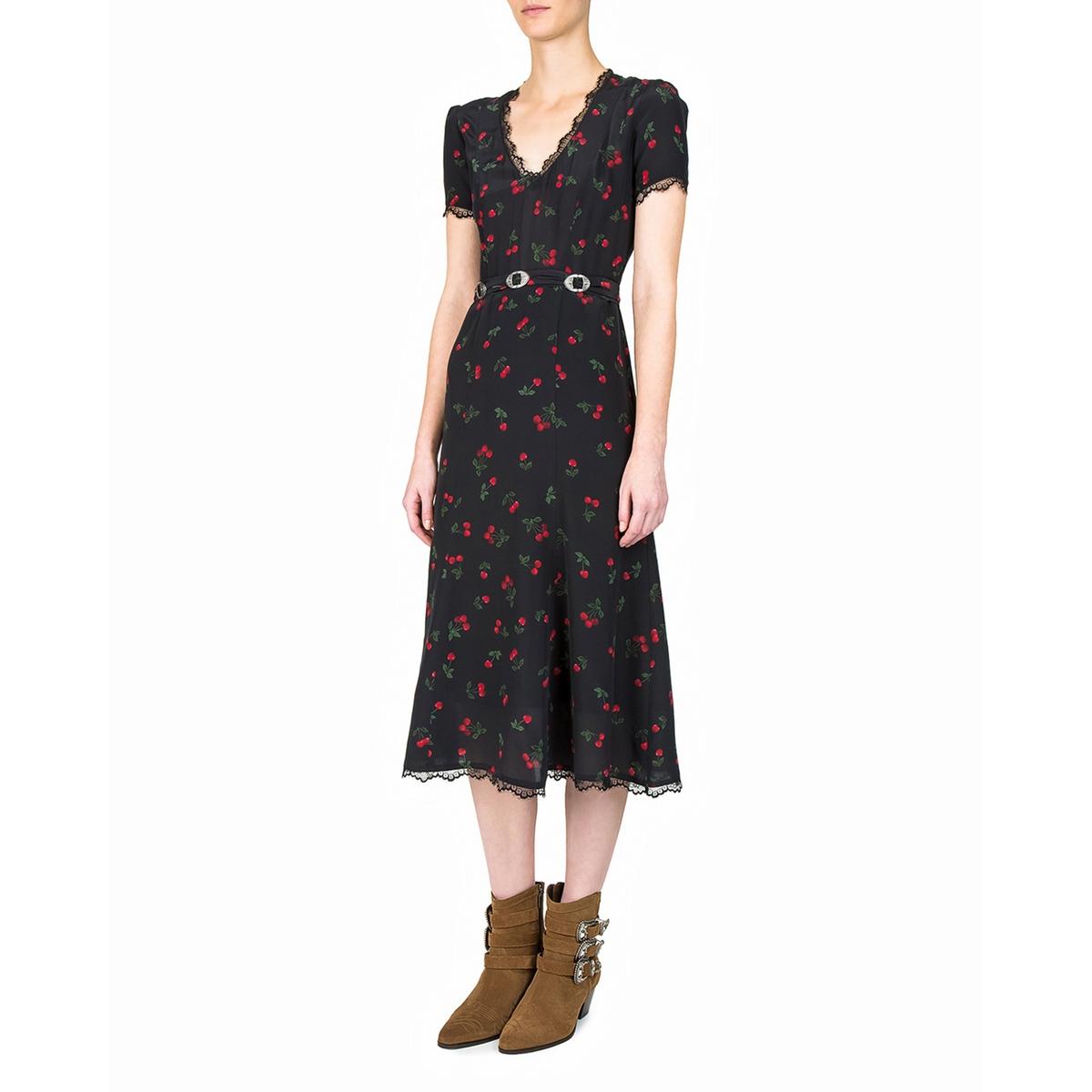 Платье с короткими рукавами из шелка с принтом и поясом