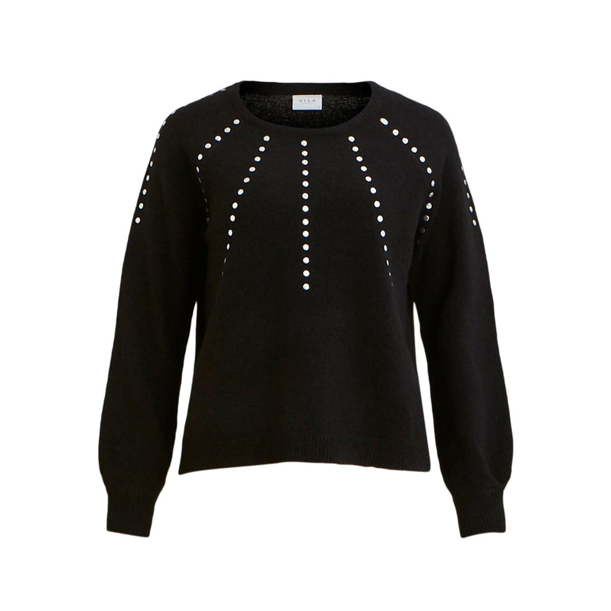 Пуловер La Redoute С круглым вырезом и длинными рукавами с бисером S черный кардиган la redoute с длинными рукавами galinais s черный