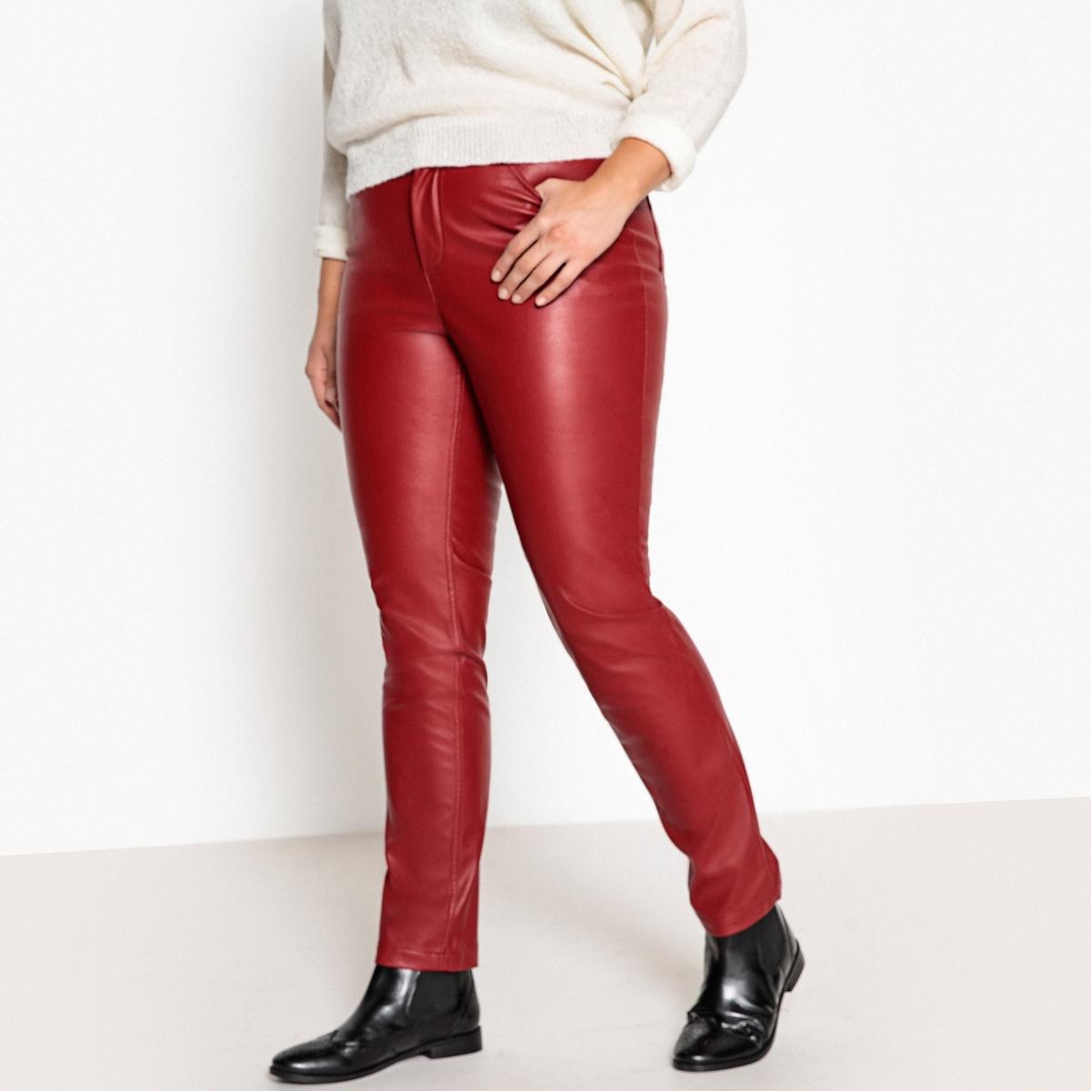 Pantaloni 5 tasche slim in similpelle