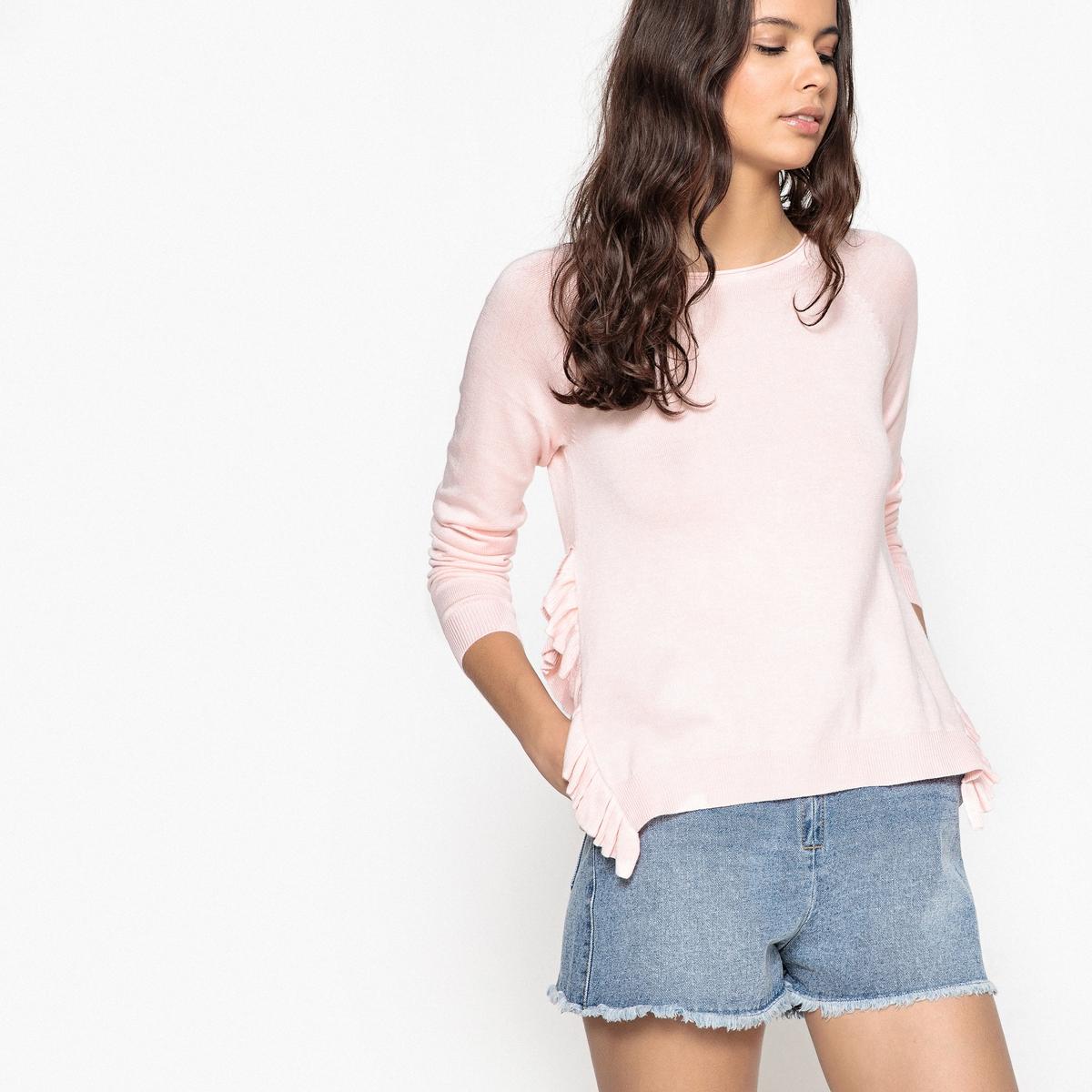 Długi sweter z szerokim dekoltem i falbankami po bokach