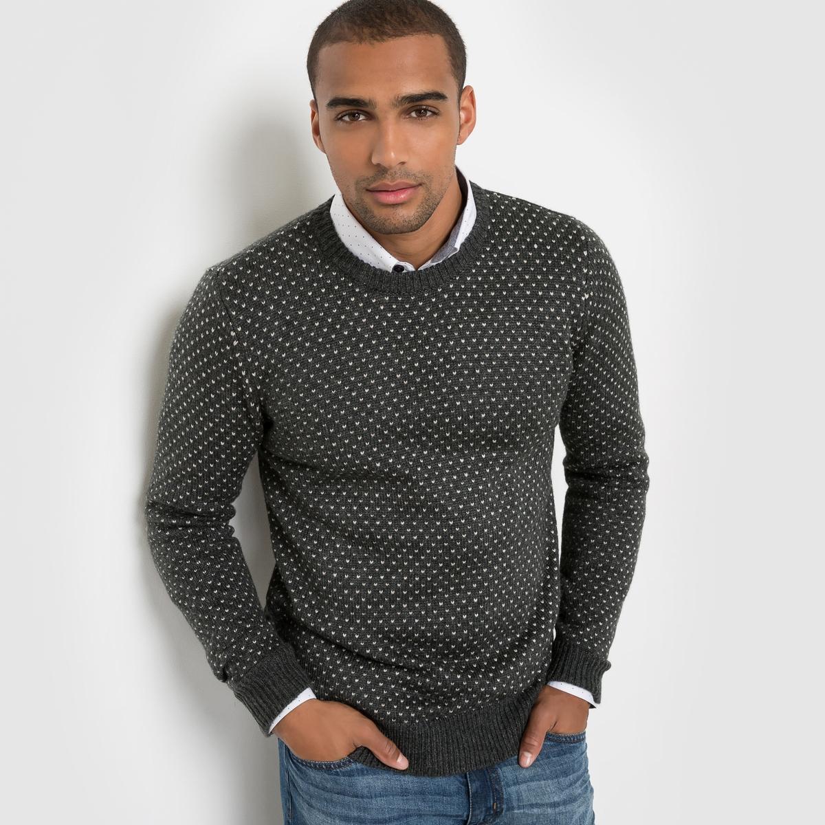 Пуловер с рисунком в горошек в крапинку