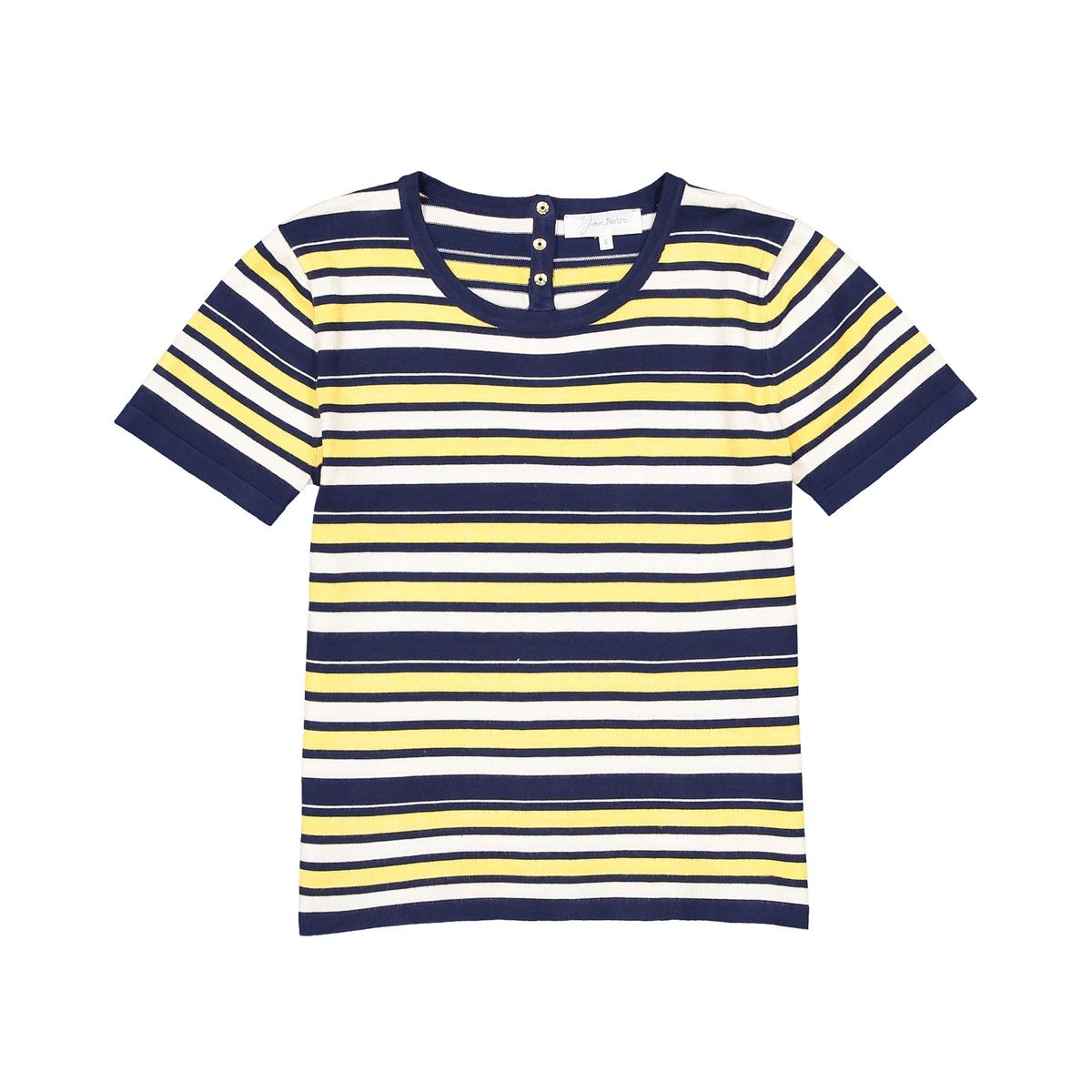Пуловер с круглым вырезом из вискозыМатериал : 80% вискозы, 20% полиамида Длина рукава : короткие рукава Форма воротника : круглый вырез Покрой пуловера : стандартный Рисунок : в полоску<br><br>Цвет: темно-синий/ желтый<br>Размер: M