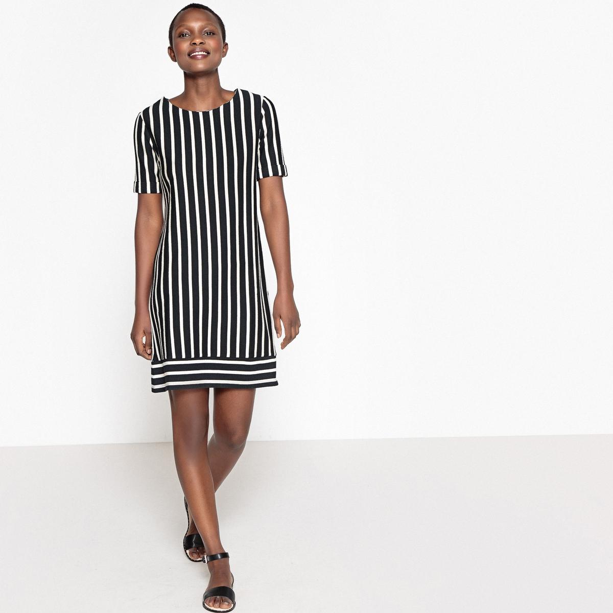 Gestreepte rechte jurk met korte mouwen