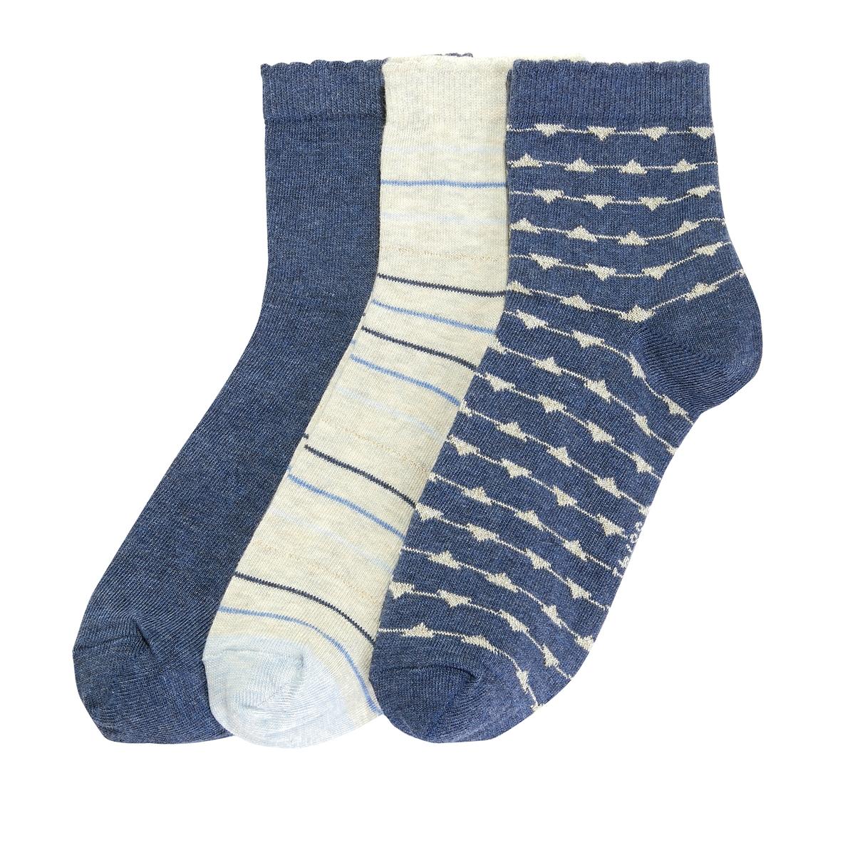 Комплект из 3 пар носков с блестящим рисунком комплект из 5 пар коротких носков из хлопка