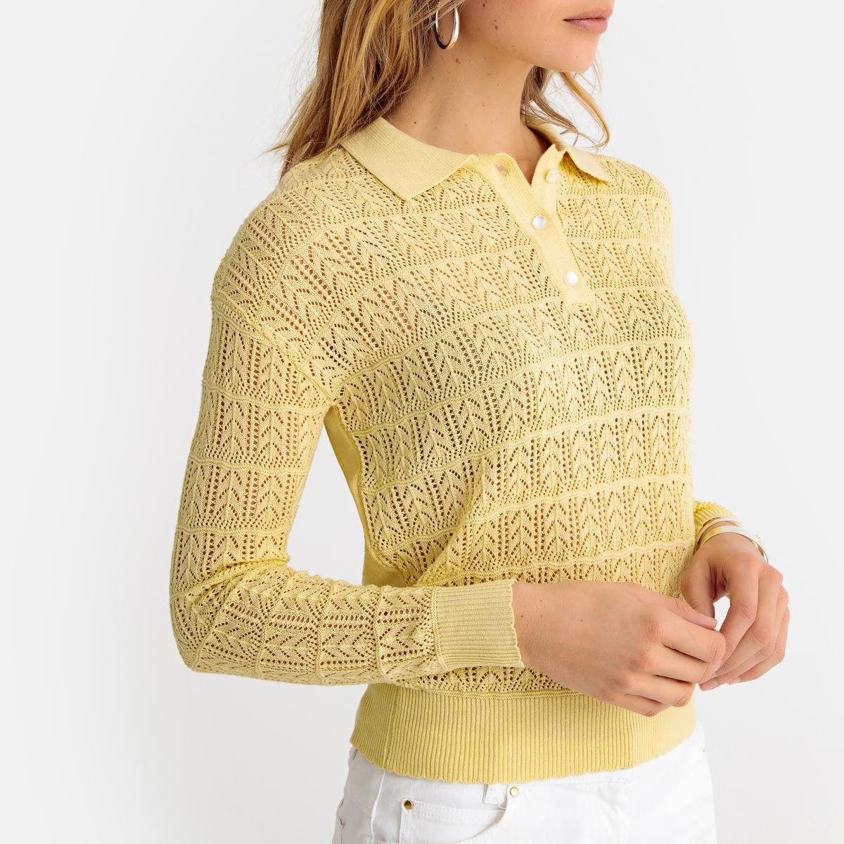 Imagen secundaria de producto de Jersy con cuello polo, de punto fino calado - Anne weyburn