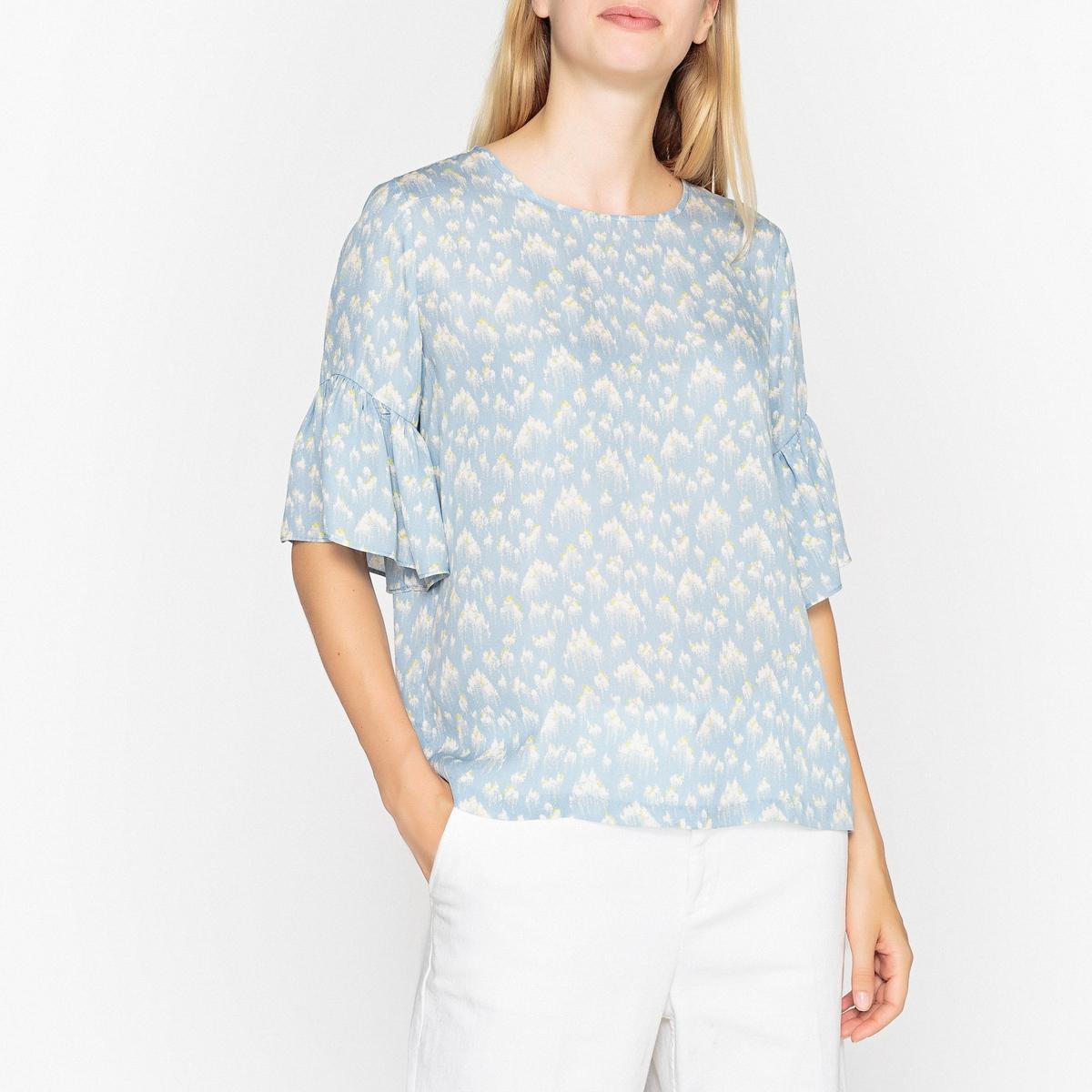 Блузка с круглым вырезом и короткими рукавами