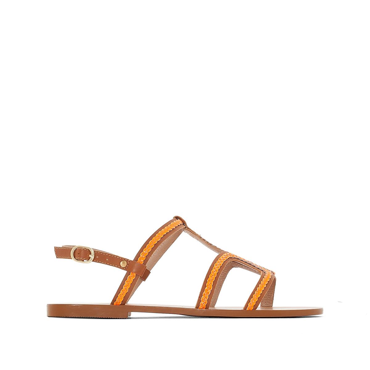 Босоножки кожаные с плетеными ремешками на плоском каблукеВерх : кожа   Подкладка : кожа   Стелька : кожа   Подошва : эластомер   Высота каблука : плоский   Форма каблука : плоский   Мысок : открытый   Застежка : ремешок с пряжкой<br><br>Цвет: оранжевый<br>Размер: 39