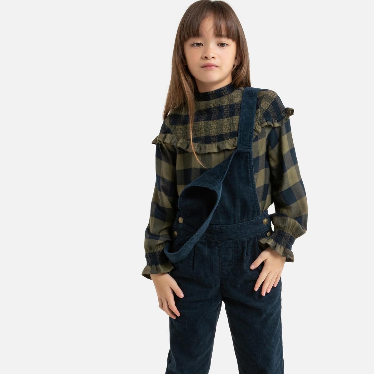 Блузка LaRedoute С длинными рукавами в клетку 3-12 лет 4 года - 102 см синий блузка laredoute с длинными рукавами и отделкой макраме 3 12 лет 4 года 102 см бежевый
