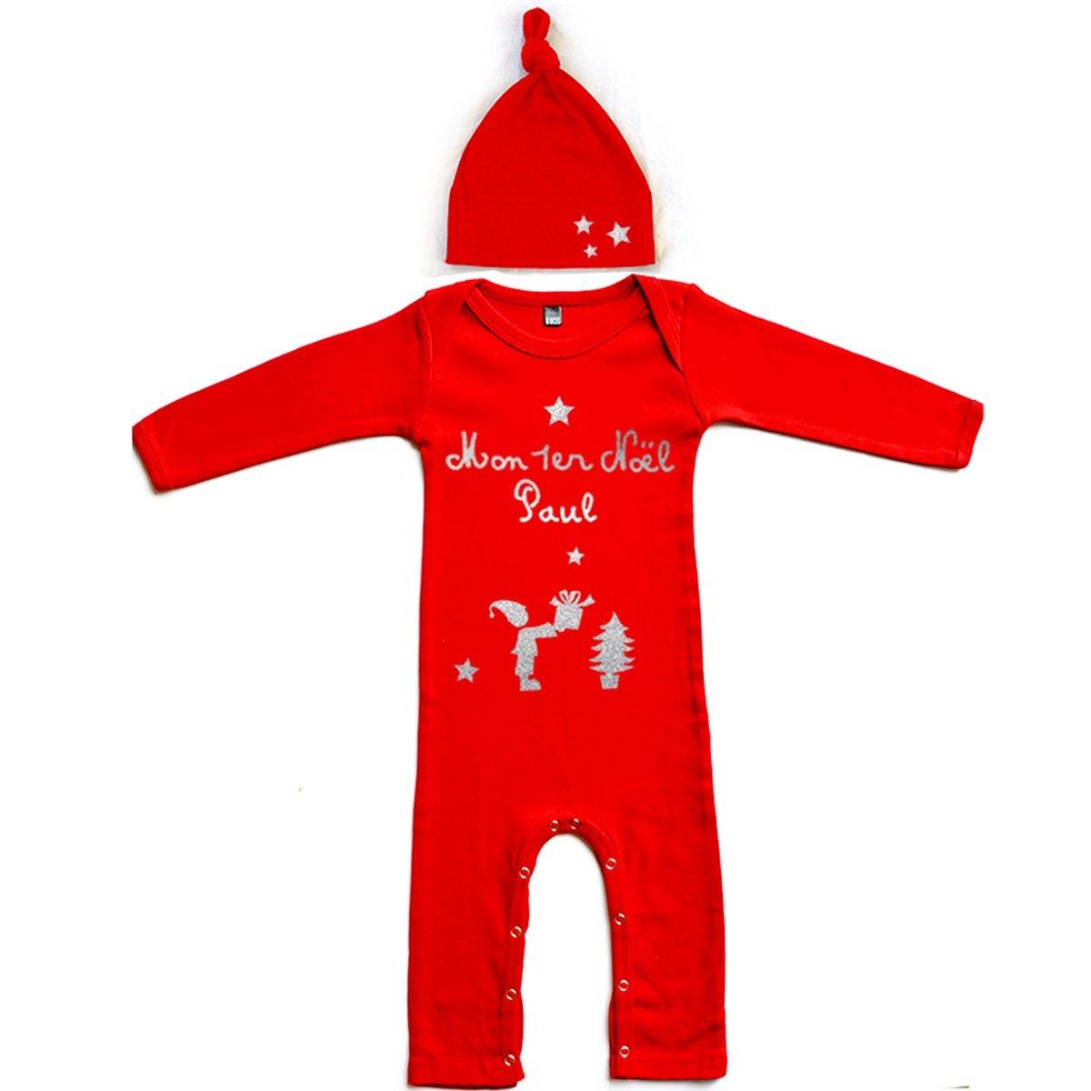 Kit Pyjama et bonnet bébé Noël prénom en coton manches longue rouge