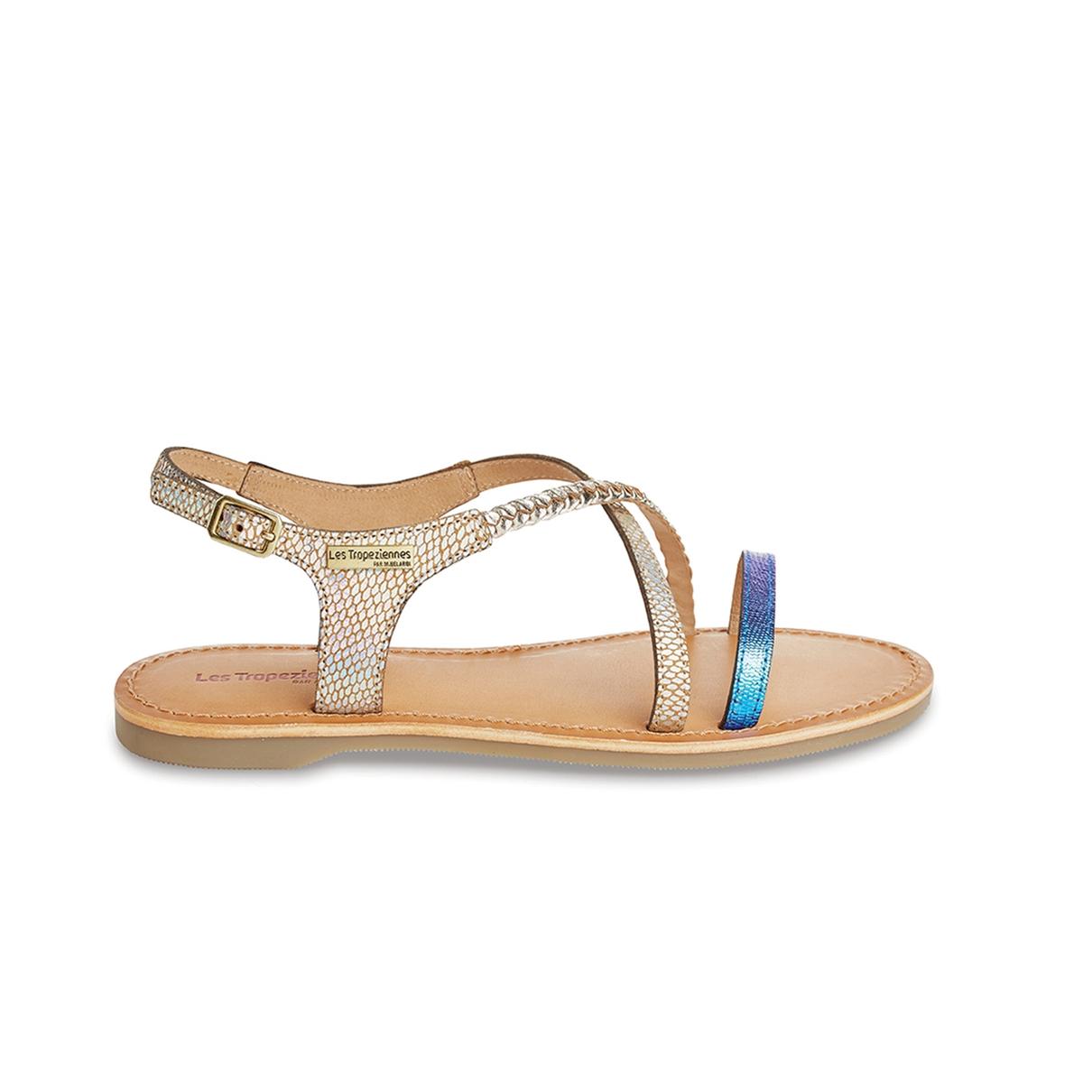 Сандалии Horse, на полоском каблуке, из кожиОчаровательные и оригинальные сандалии с минималистским дизайном подарят вам настоящее наслаждение этим летом в сочетании с любыми шортами, юбками и платьями...<br><br>Цвет: бежевый/ синий<br>Размер: 37.41
