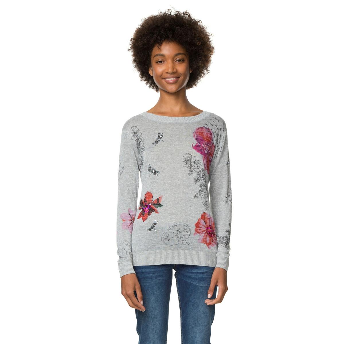 Sweter z okrągłym dekoltem i drobnym splotem