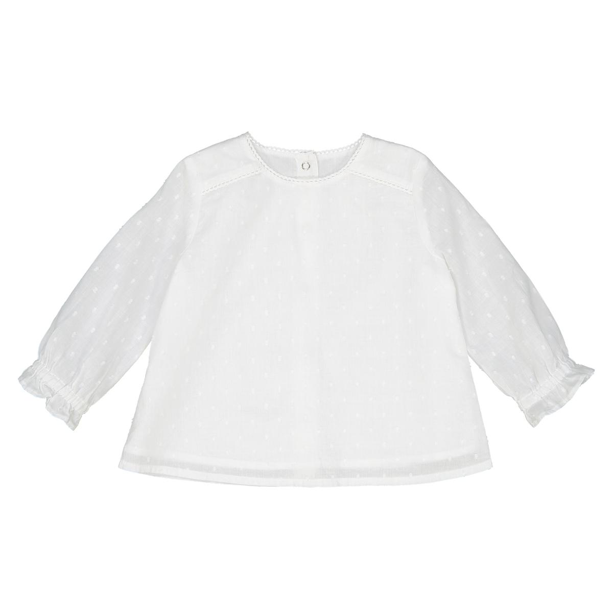 Блузка La Redoute С длинными рукавами и вырезом из кружева мес - года 0 мес. - 50 см белый футболка la redoute с длинными рукавами с вышивкой мес года 0 мес 50 см бежевый