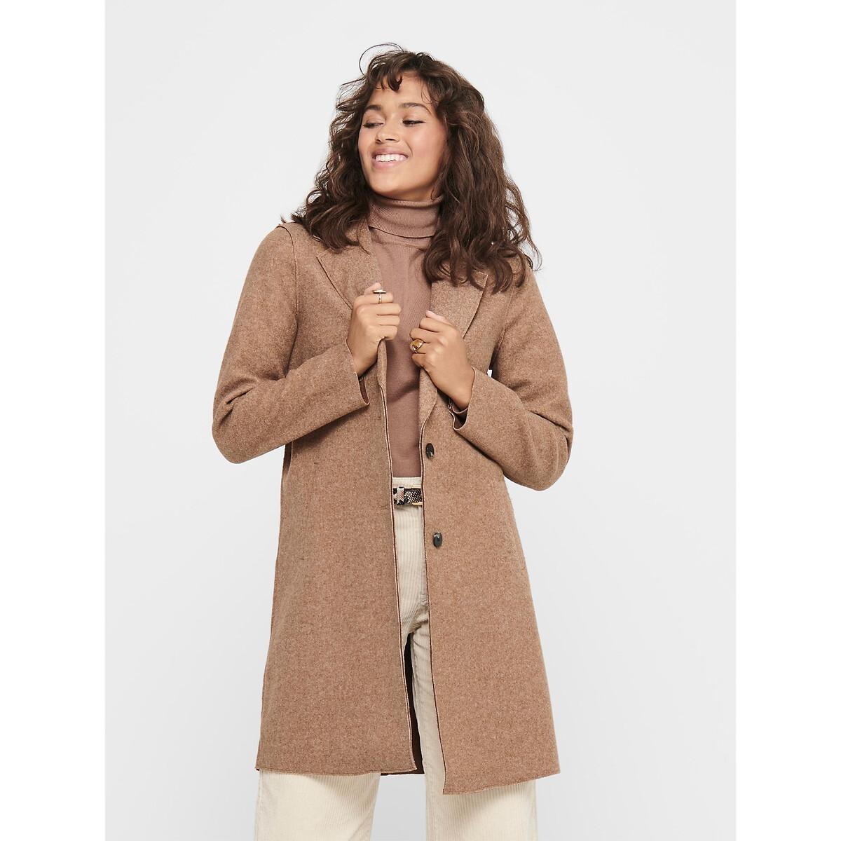 Пальто LaRedoute Средней длины на пуговицах S каштановый