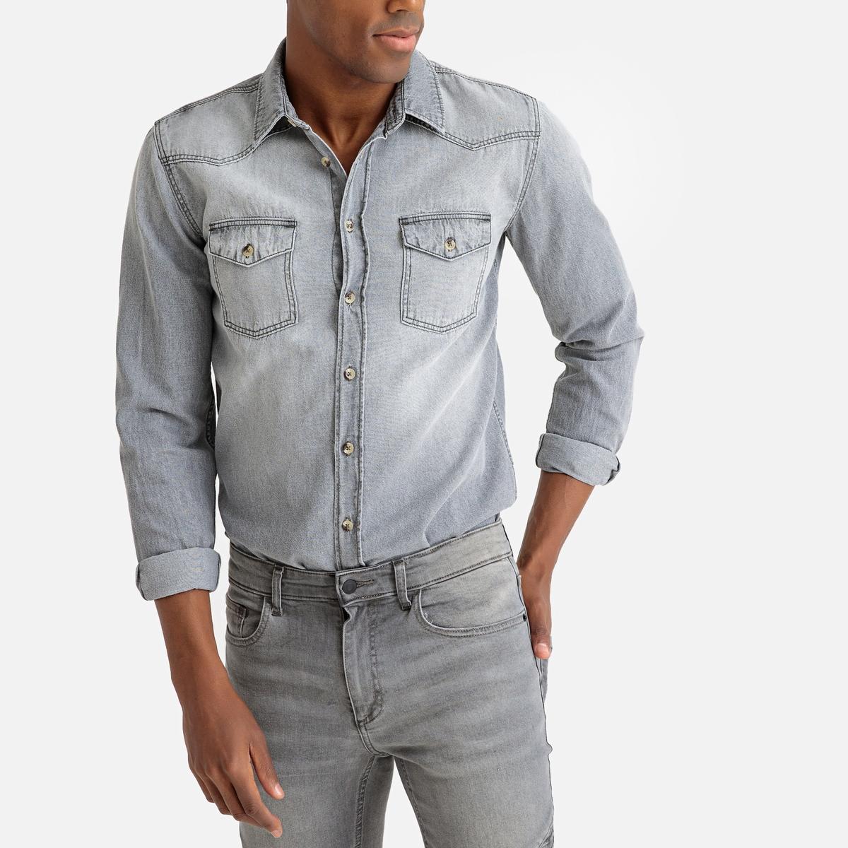 Camisa recta de denim, manga larga