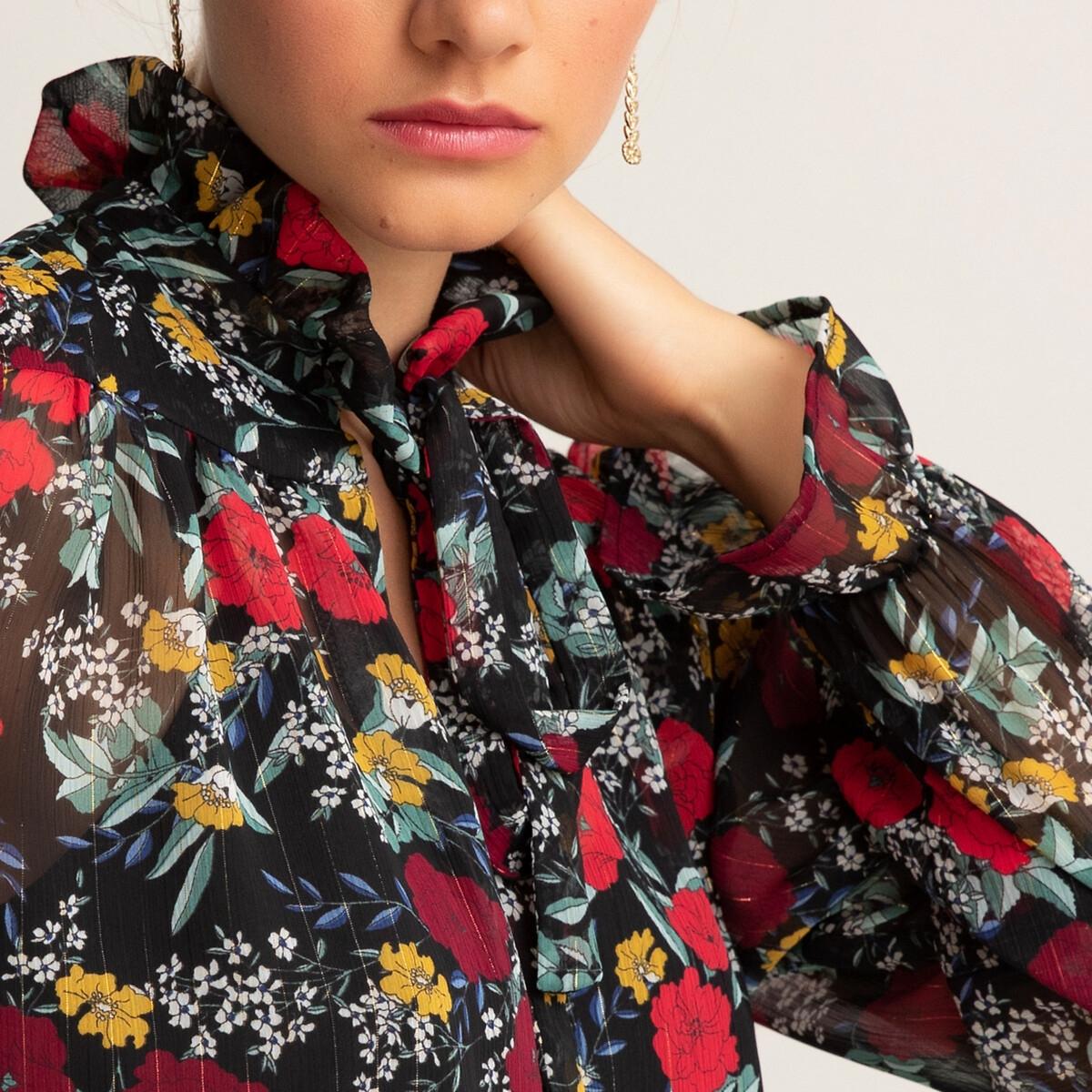 Блузка LaRedoute С воротником-стойкой с завязками и цветочным принтом 34 (FR) - 40 (RUS) черный