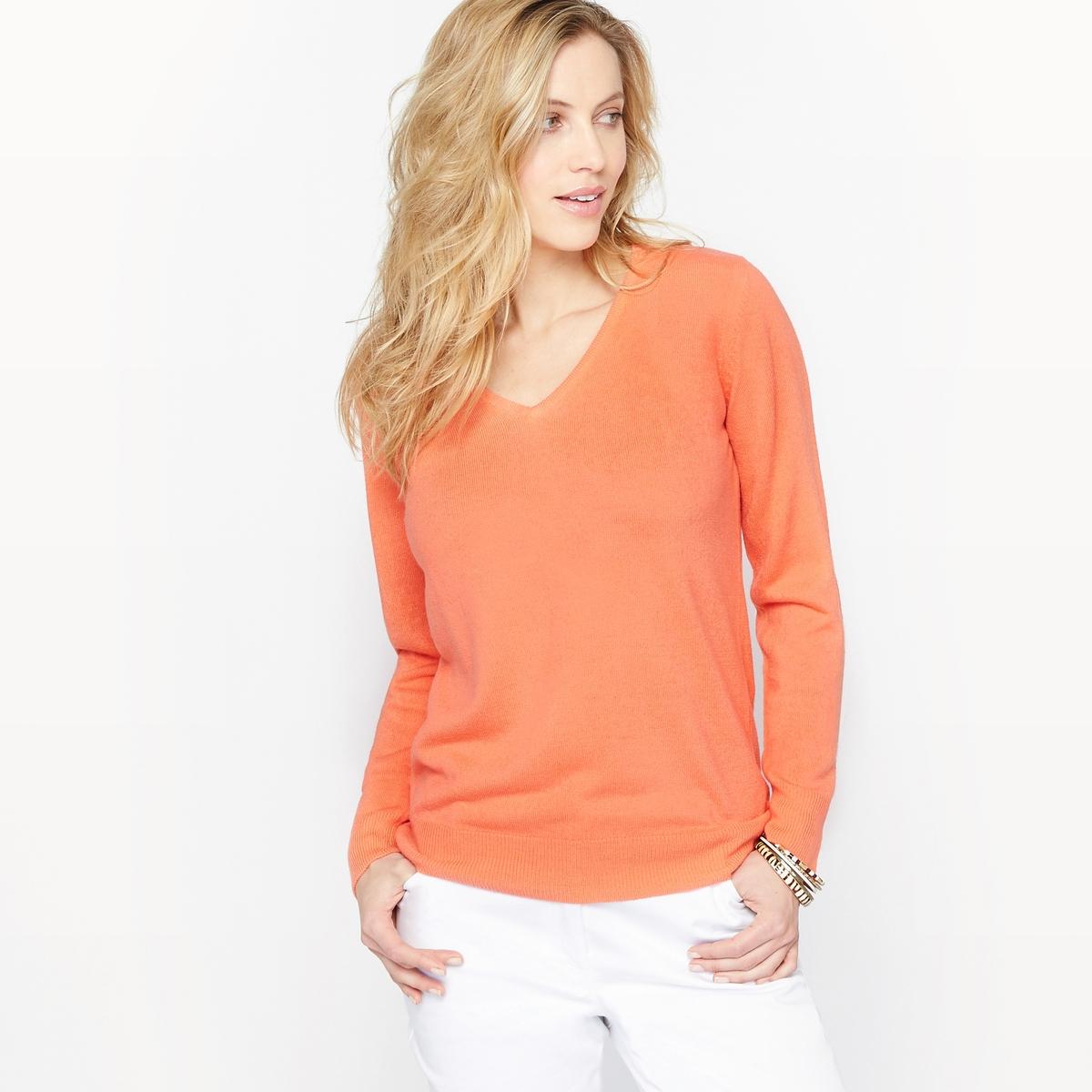 Пуловер с V-образным вырезом из трикотажа под кашемир