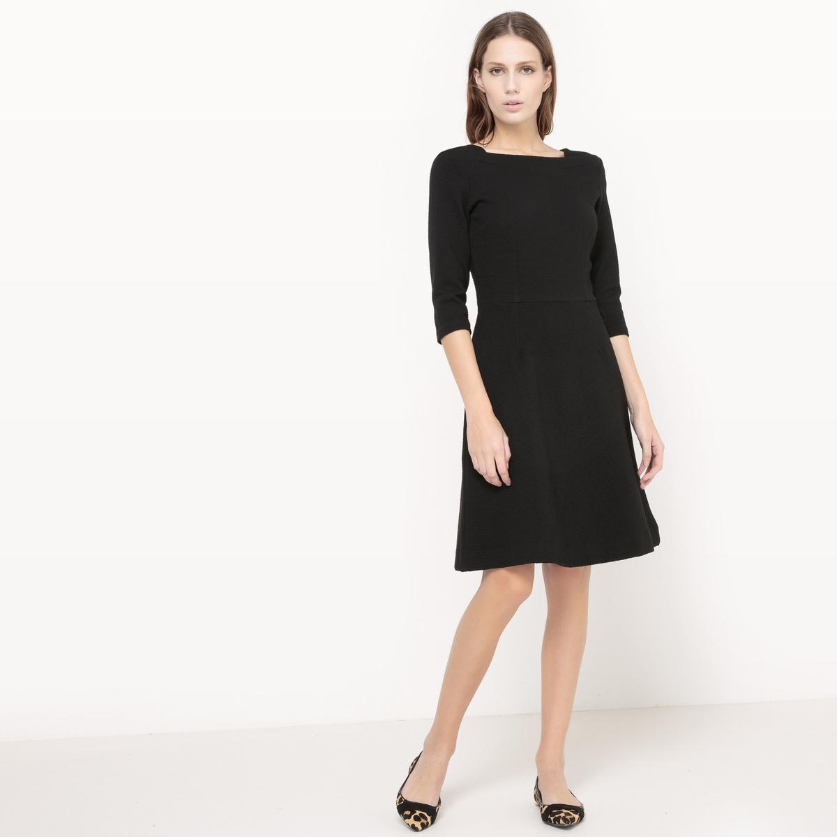 Платье с рукавами 3/4Платье с рукавами 3/4 TOM TAILOR . Платье с квадратным вырезом  . Присборенная талия . Пояс из материала с вафельным узором . Состав и описание :Материал : 72% полиэстера, 24% вискозы, 4% эластана Марка : TOM TAILOR.<br><br>Цвет: черный<br>Размер: 42 (FR) - 48 (RUS)