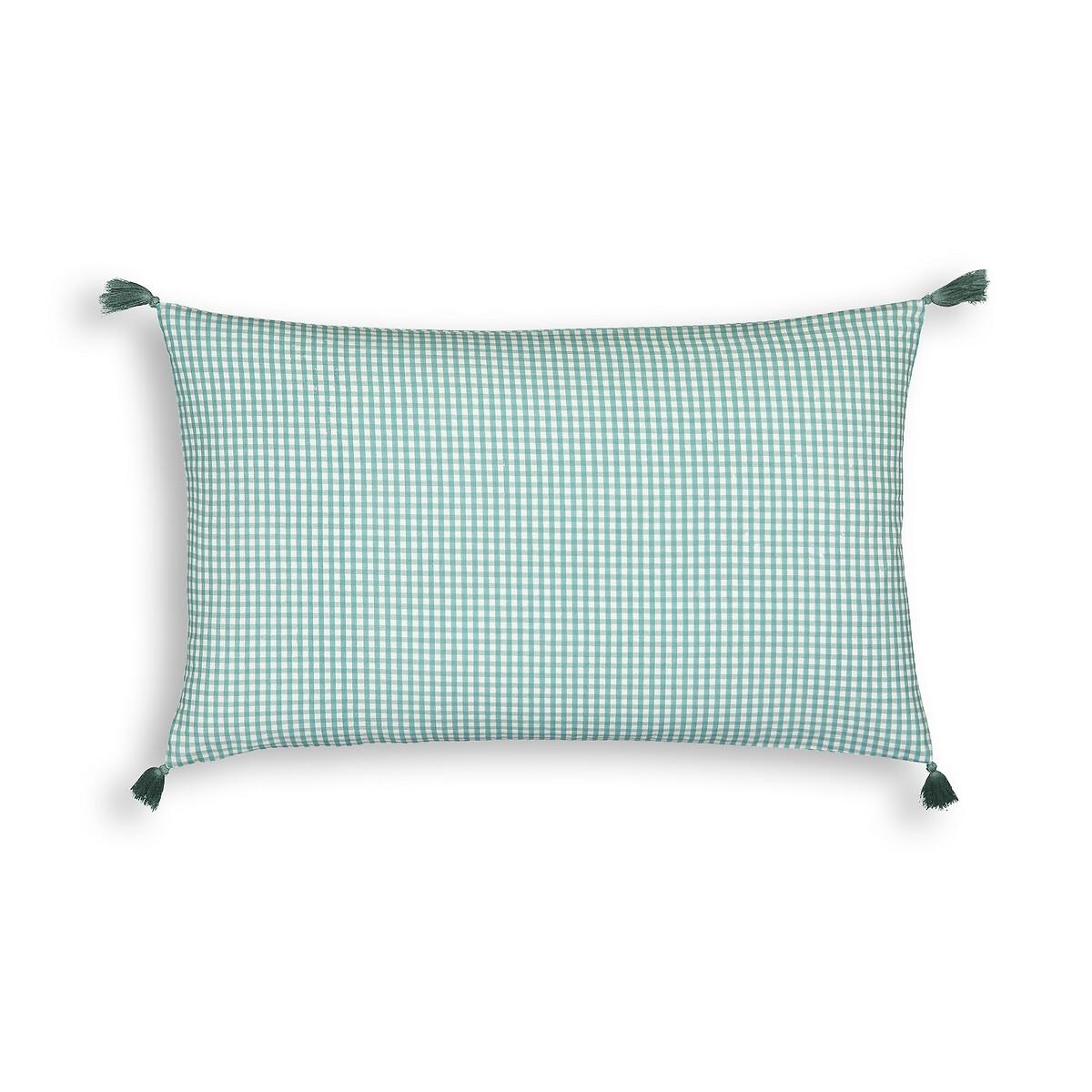 Фото - Чехол LaRedoute Для подушки из осветленного хлопка Grace 50 x 30 см зеленый пододеяльник laredoute из осветленного хлопка babette 260 x 240 см зеленый