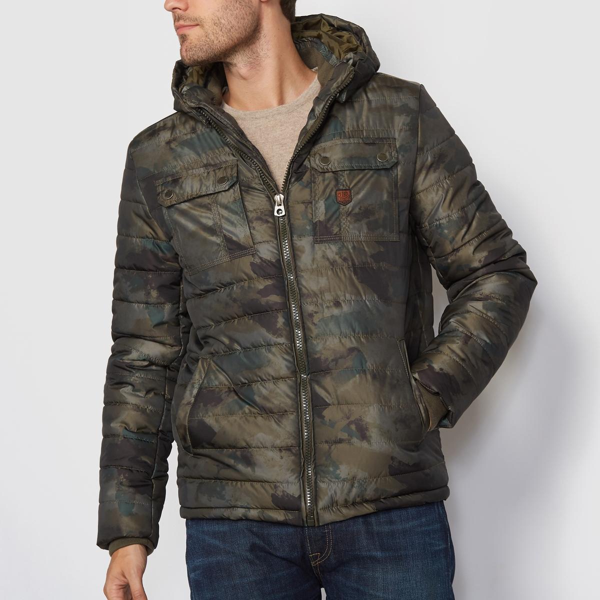 Стеганая куртка с капюшономСостав и описаниеМатериал: 100% полиэстер    Марка: PETROL INDUSTRIES®<br><br>Цвет: золотисто-каштановый