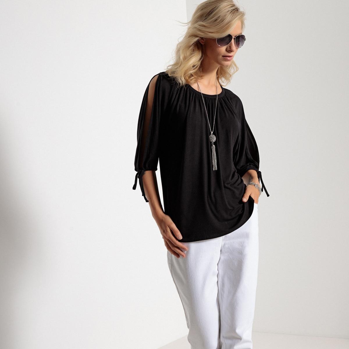 Imagen secundaria de producto de Camiseta con cuello barco y manga corta con abertu - Anne weyburn