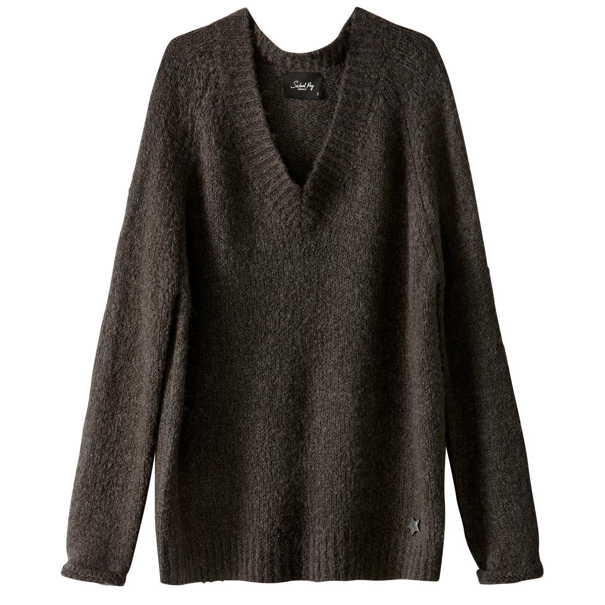 Пуловер из плотного трикотажа с V-образным вырезомОписание:Детали •  Длинные рукава •   V-образный вырез •  Плотный трикотаж Состав и уход •  8% шерсти, 69% акрила, 3% эластана, 20% полиамида •  Следуйте советам по уходу, указанным на этикетке<br><br>Цвет: серый<br>Размер: S