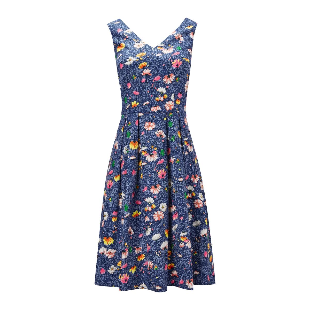 Платье расклешенное без рукавов с цветочным рисунком