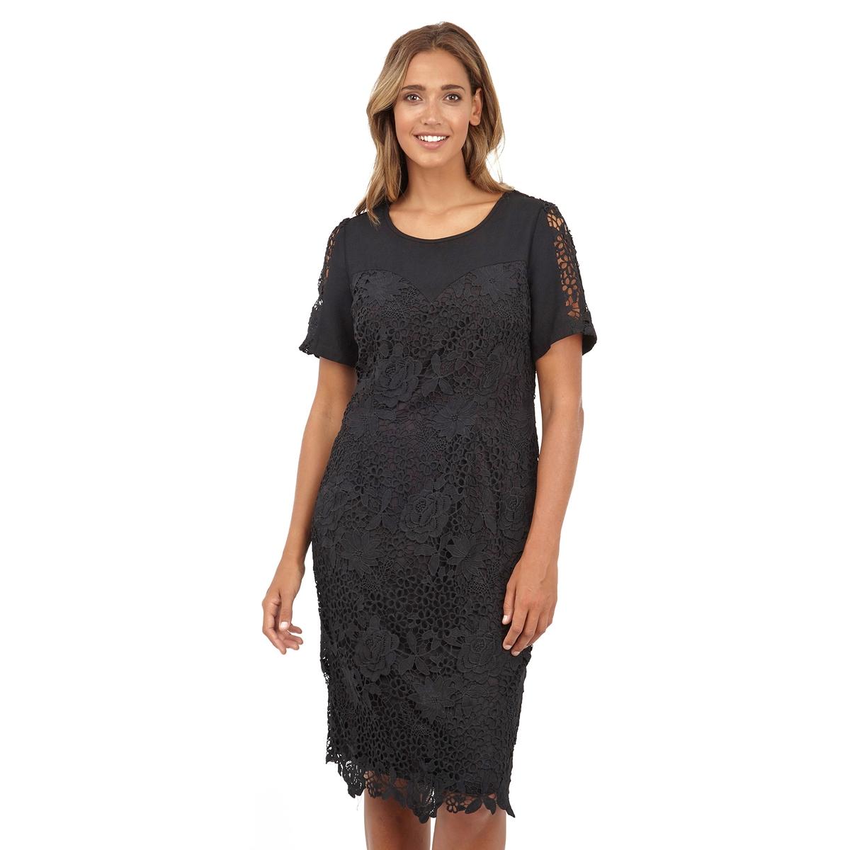 ПлатьеКружевное платье с короткими рукавами LOVEDROBE. 100% полиэстер. Длина ок.104 см.<br><br>Цвет: черный