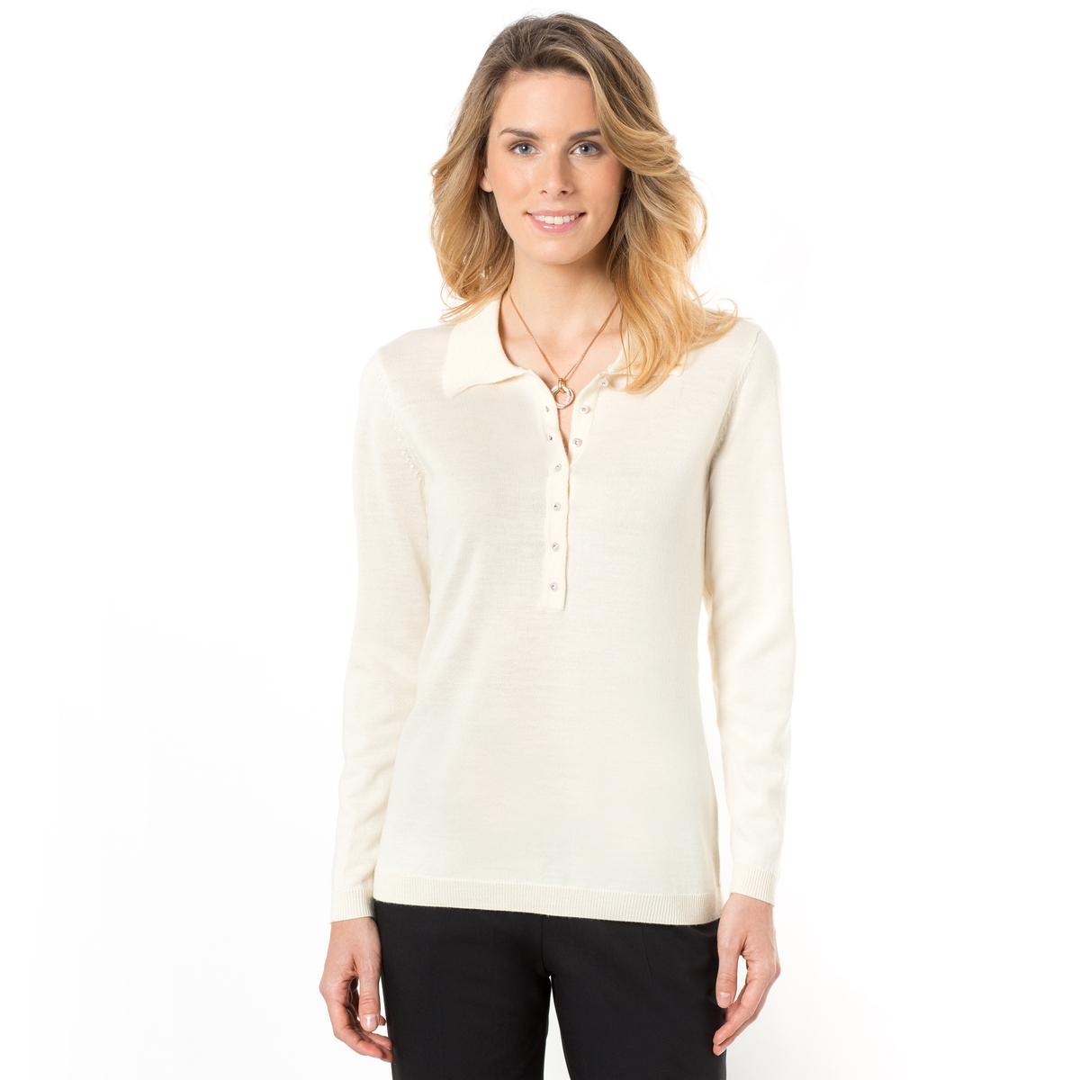 Пуловер с воротником-поло, из тонкого трикотажа