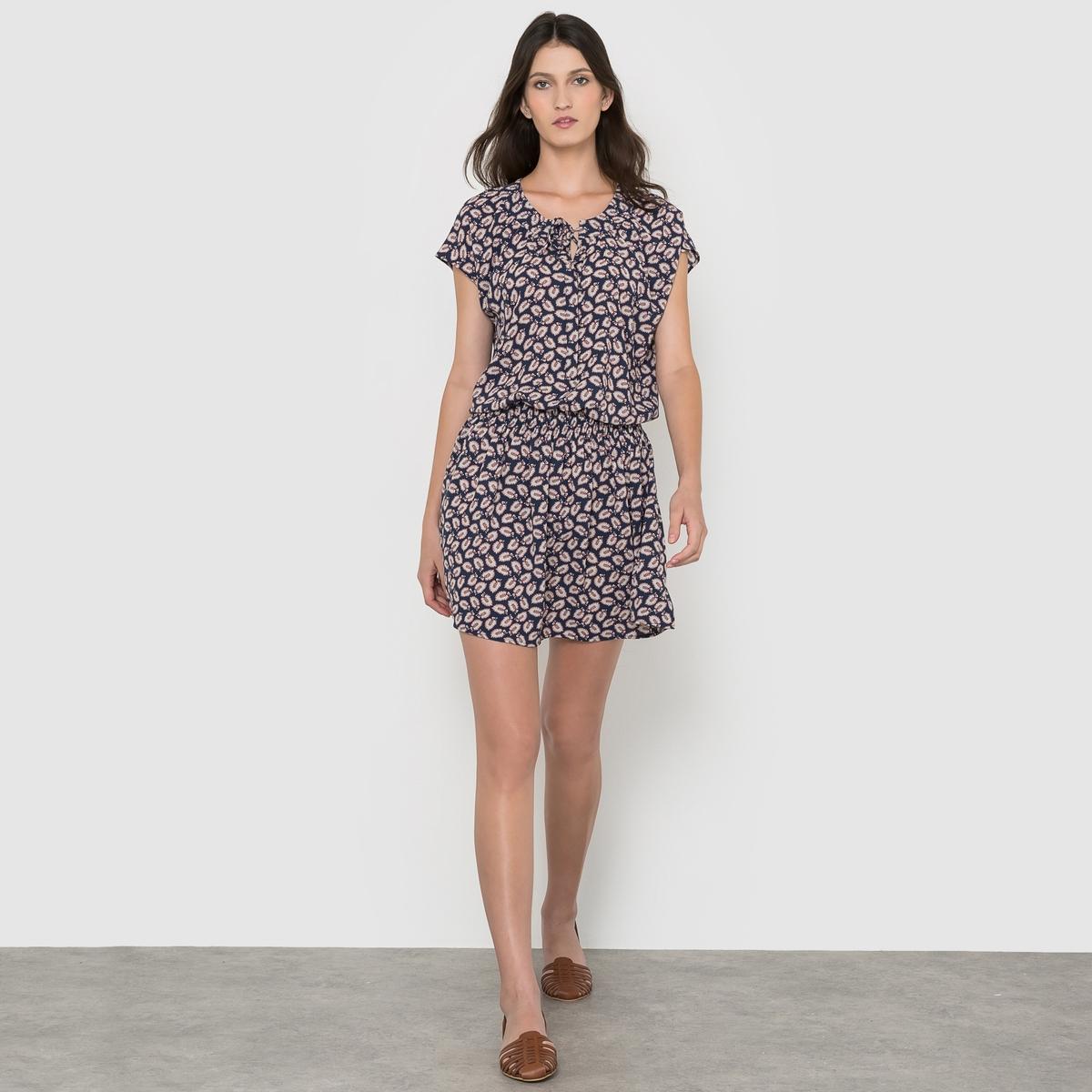 Bedrukte jurk met korte mouwen