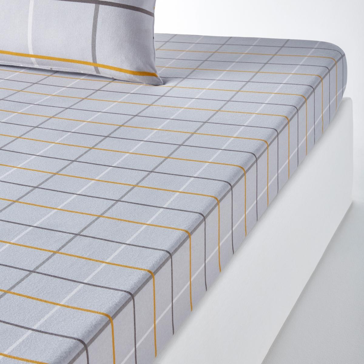 Простыня натяжная из фланели с принтом ALPIПростыня натяжная с принтом Alpi . Рисунок в мелкую клетку  . Фланелевая ткань 100% хлопок, мягкая и теплая . Фланелевая ткань идеально подойдет для зимы .Характеристики натяжной простыни Alpi:Фланелевая ткань 100% хлопок (180 г/см?) : чем больше нитей/см?, тем выше качество материала.Машинная стирка при 60 °C.Легкость ухода.Клапан 25 см. Размеры :90 x 190 см : 1-сп.140 x 190 см : 2-сп..160 x 200 см : 2-сп..180 x 200 см : 2-сп.. Найдите комплект постельного белья Alpi на сайте laredoute  .ru Для размера на 180 на 140 см: длина 180 см, ширина 140 см. Для размера 240 на 140 см: длина 240 см, ширина 140 см. Для размера 350 на 140 см: длина 350 см, ширина 140 см.      Знак Oeko-Tex® гарантирует, что товары прошли проверку и были изготовлены без применения вредных для здоровья человека веществ.<br><br>Цвет: Рисунок/серая клетка<br>Размер: 90 x 190  см