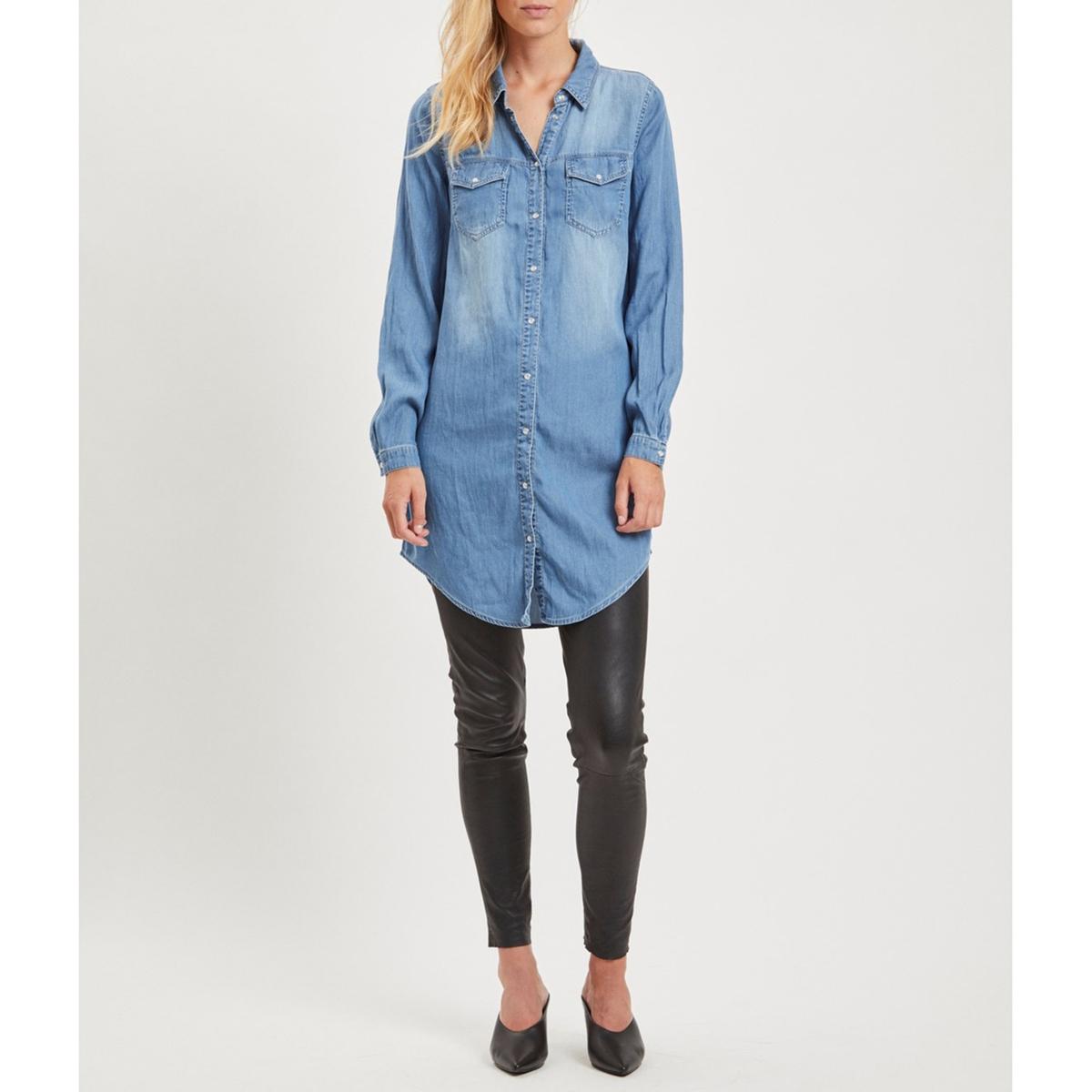 цена Платье-миди La Redoute Прямое с длинными рукавами XS синий в интернет-магазинах