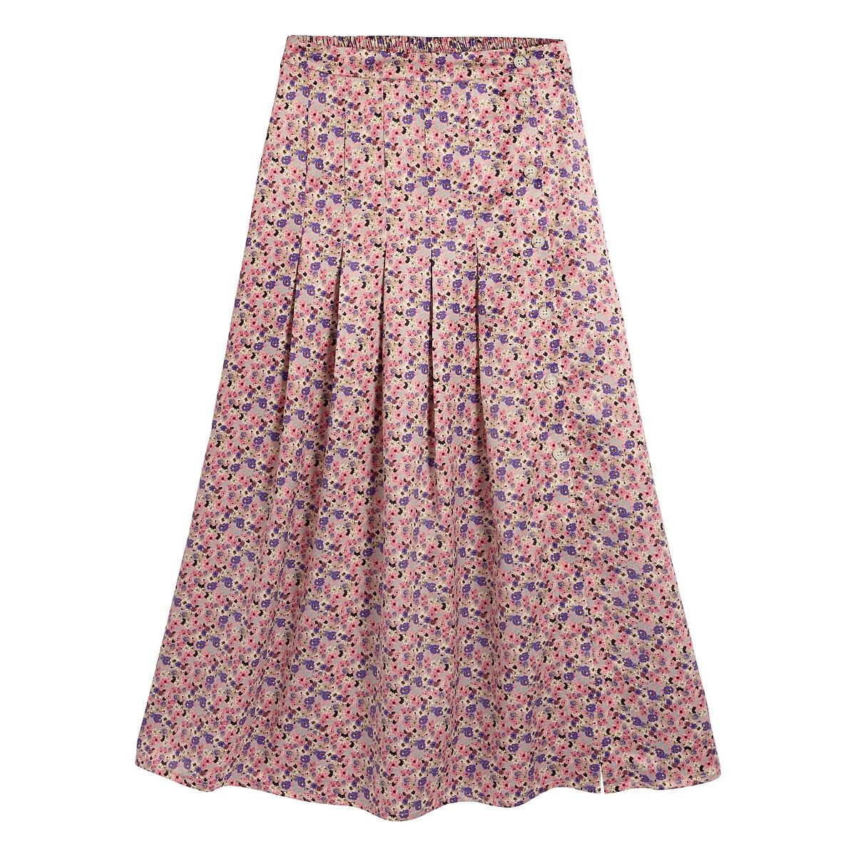 Falda larga con estampado de flores