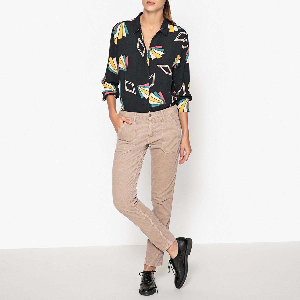 Рубашка с рисунком VOOLРубашка с длинными рукавами BA&amp;SH - модель VOOL из вискозы с геометрическим узором и присборенными манжетами.Детали  •  Длинные рукава •  Прямой покрой •  Воротник-поло, рубашечный •  Рисунок-принтСостав и уход  •  100% вискоза •  Следуйте советам по уходу, указанным на этикетке<br><br>Цвет: черный