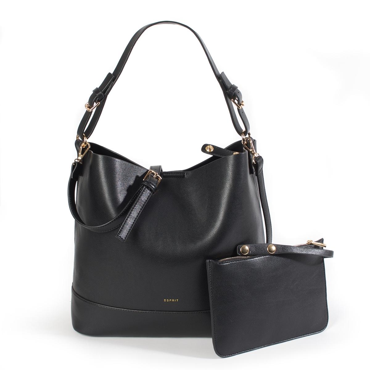 Сумка-шоппер WasimaМодная сумка Esprit с небольшой косметичкой соответствующей расцветки в красивом винтажном стиле современной интерпретации. Состав и описание :  •  Материал : верх из полиуретана                         подкладка из полиуретана  •  Марка : Esprit •  Модель : Sac Wasima hobo •  Размер : 31,5 x 32 x 12,5 см •  Застежка : на пуговицуВнутренние карманы   Съемный и регулируемый ремешокСоответствующая косметичка на молнии<br><br>Цвет: черный