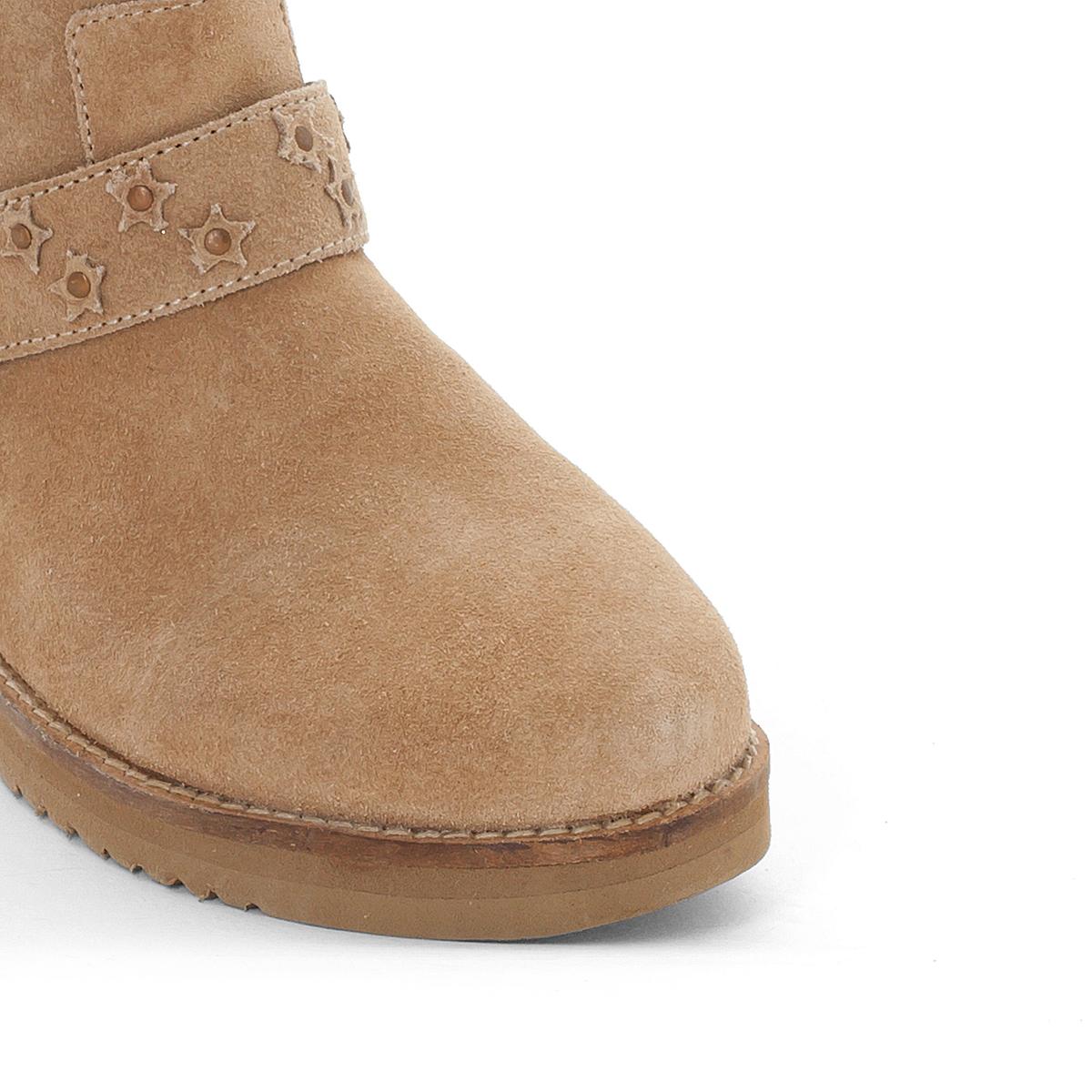Ботинки замшевые  MicaВерх/Голенище : синтетика  Подкладка : Текстиль  Стелька : Кожа.  Подошва : каучук   Форма каблука : плоский каблук  Мысок : закругленный.  Застежка : без застежки<br><br>Цвет: бежевый<br>Размер: 36