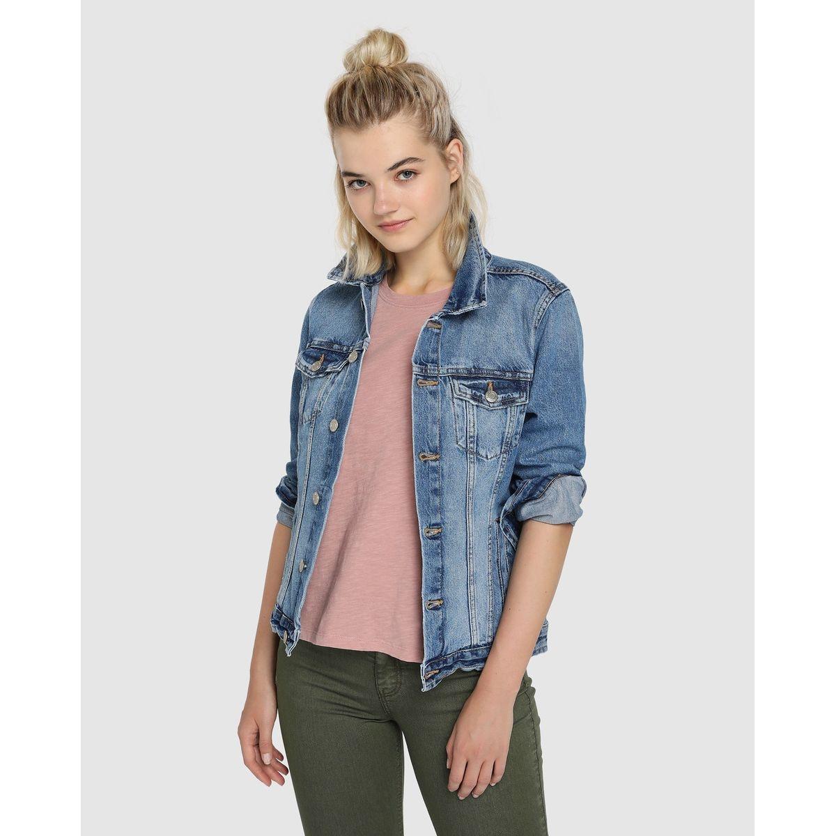 Veste en jean basique effet usé